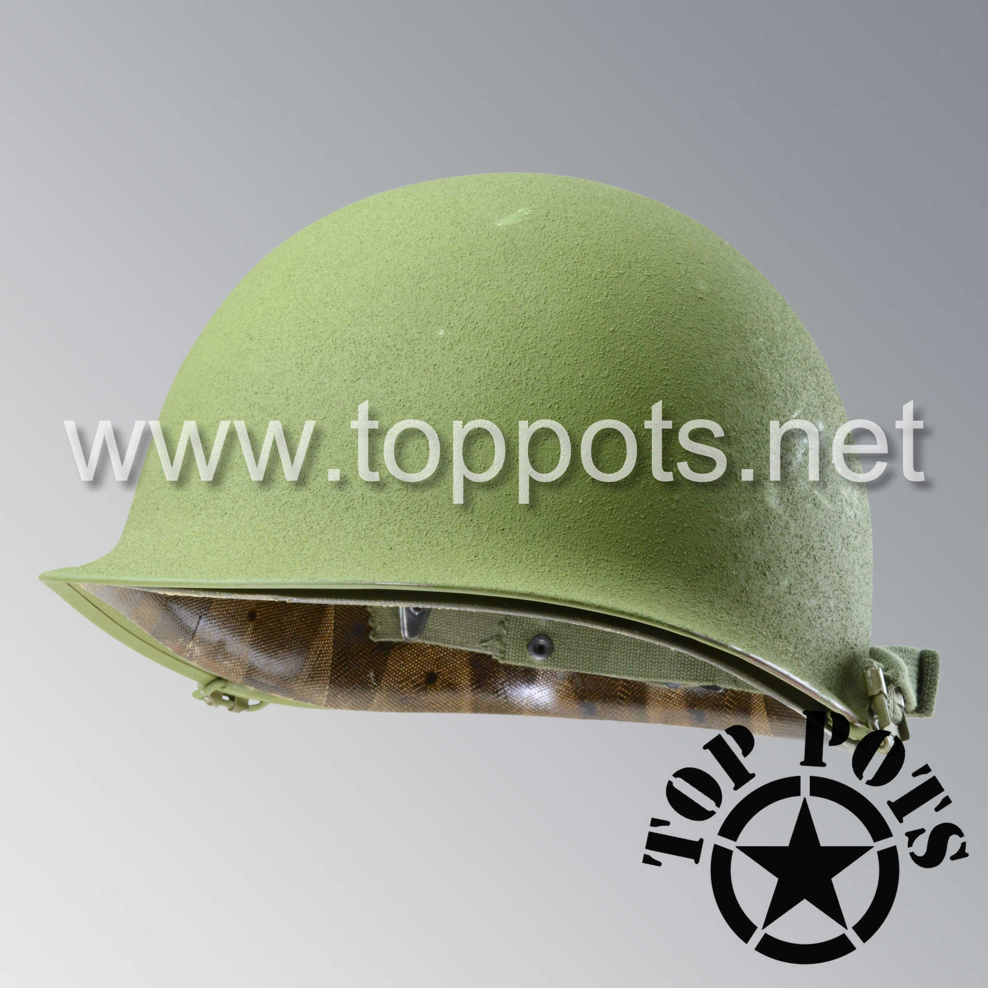Image 1 of Vietnam War US Army Original M1 Infantry Helmet Swivel Bale Shell and P55 Liner