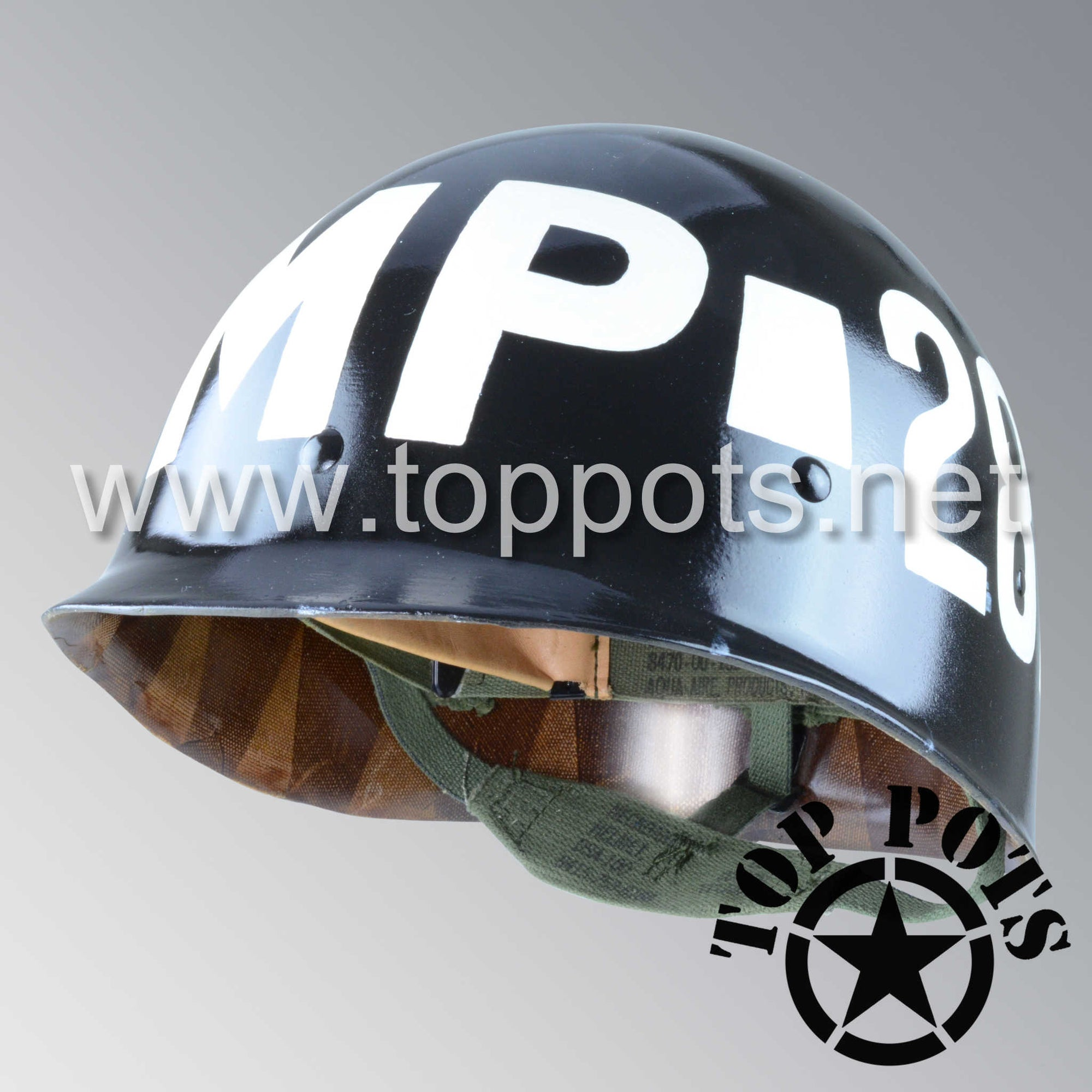 Image 1 of Vietnam War US Army Original M1 Infantry Helmet P64 Liner with MP Military Police Emblem