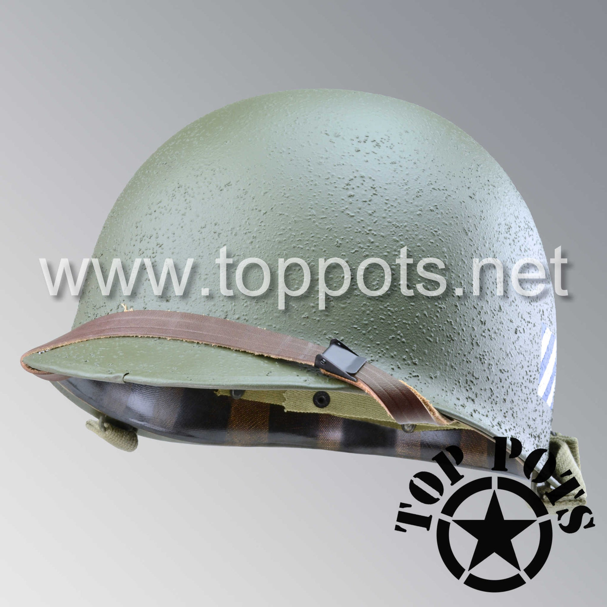 Image 1 of WWII US Army Restored Original M1 Infantry Helmet Swivel Bale Shell and Liner with 3rd Infantry Division 5th Regiment Emblem