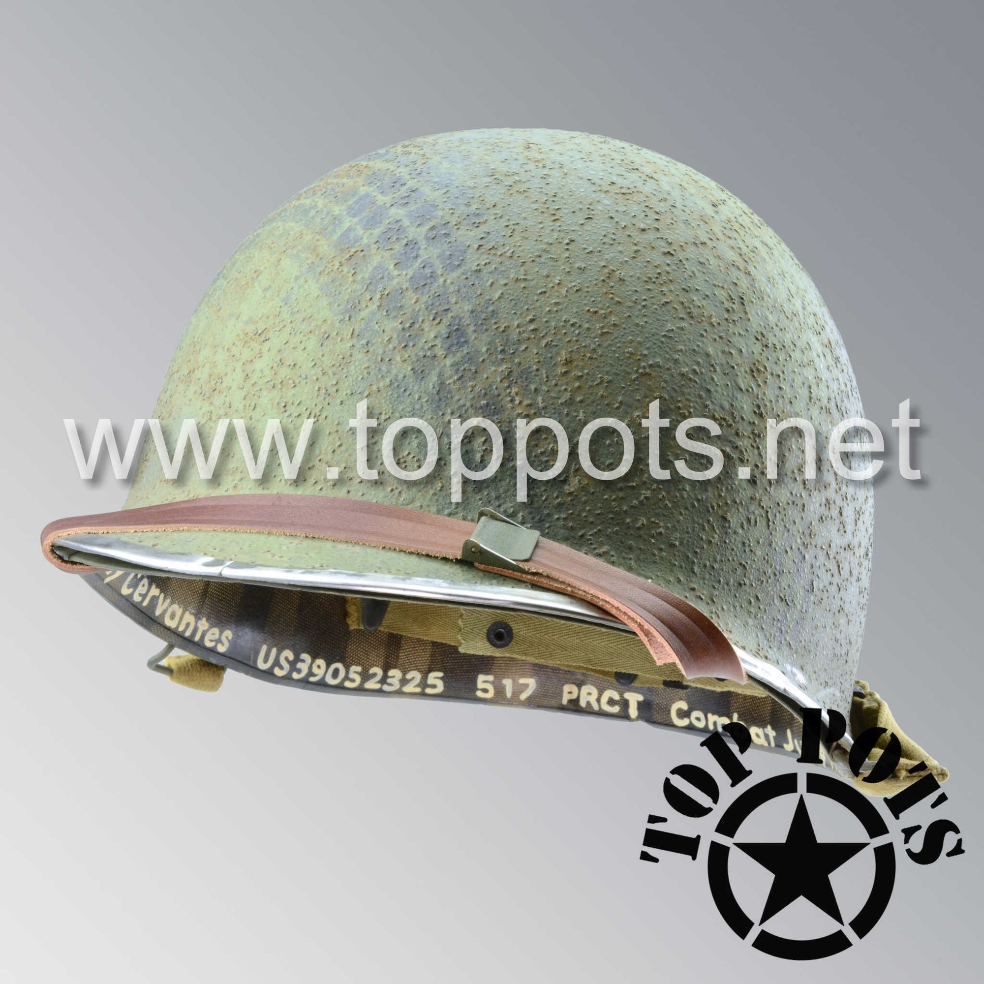 Image 1 of WWII US Army Aged Original M1C Paratrooper Airborne Helmet Shell and Liner with 517th PRCT Emblem