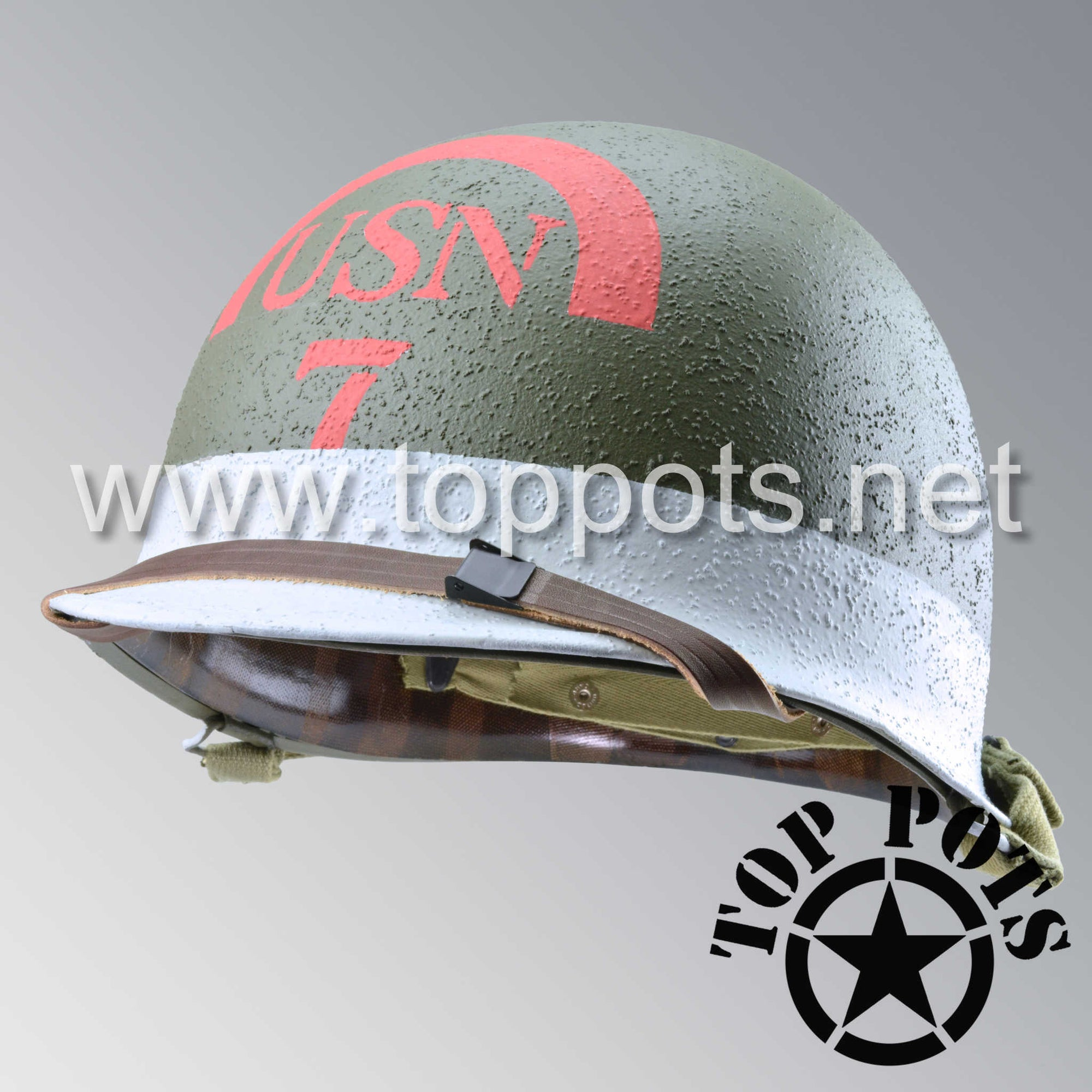 Image 1 of WWII US Navy Restored Original M1 Infantry Helmet Swivel Bale Shell and Liner with 7th Naval Beach Battalion USN Emblem