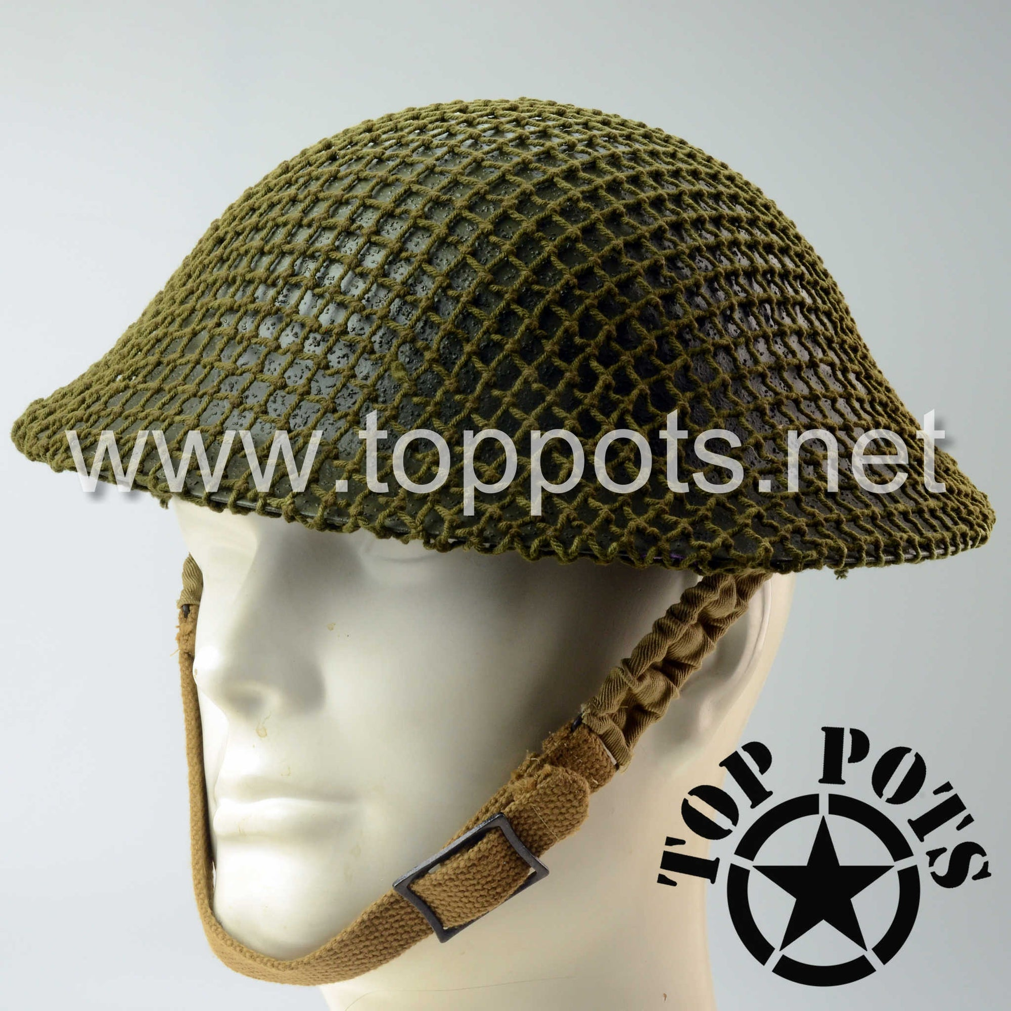 WWII Australian Army Reproduction MKII MK2 Enlisted Brodie Helmet with Original Helmet Net – Field Textured Finish