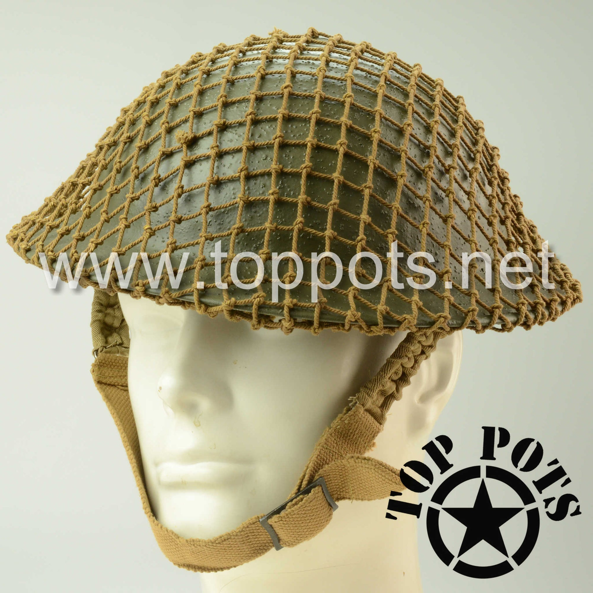 WWII Australian Army Reproduction MKII MK2 Enlisted Brodie Helmet with Reproduction Helmet Net – Field Textured Finish