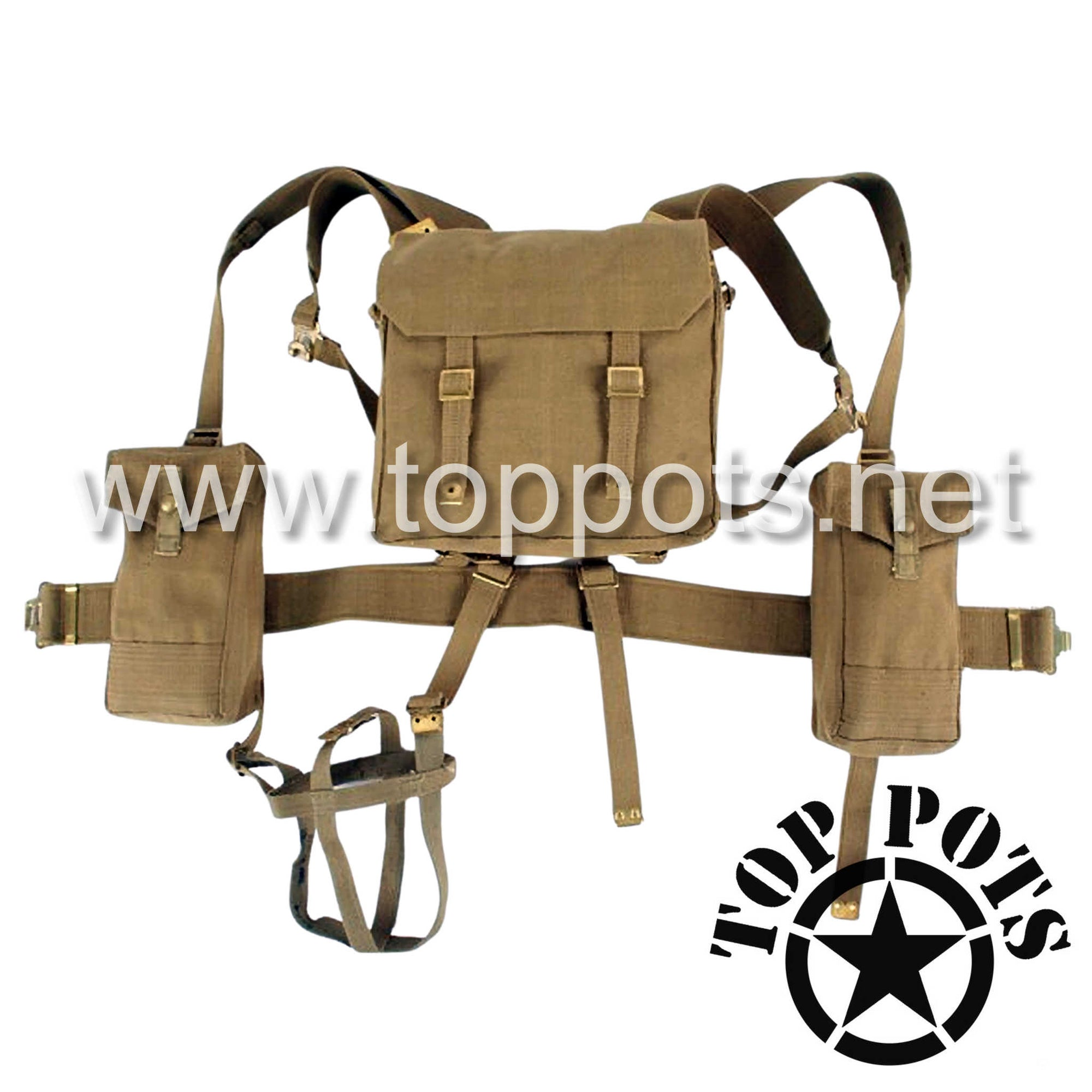 WWII Australian Army Reproduction P37 Canvas Battle Order Webbed Equipment Set – Khaki Tan Webbing