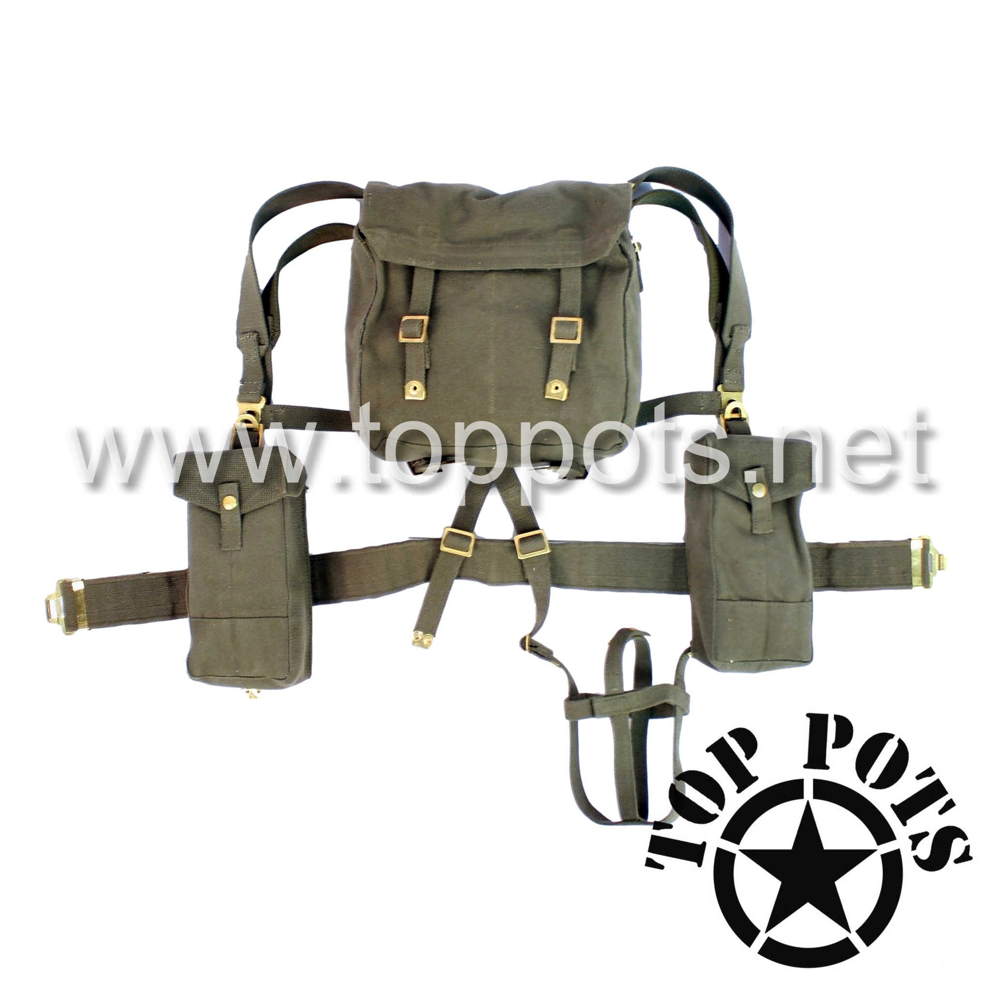 WWII Australian Army Reproduction P37 Canvas Battle Order Webbed Equipment Set – Khaki Green Webbing