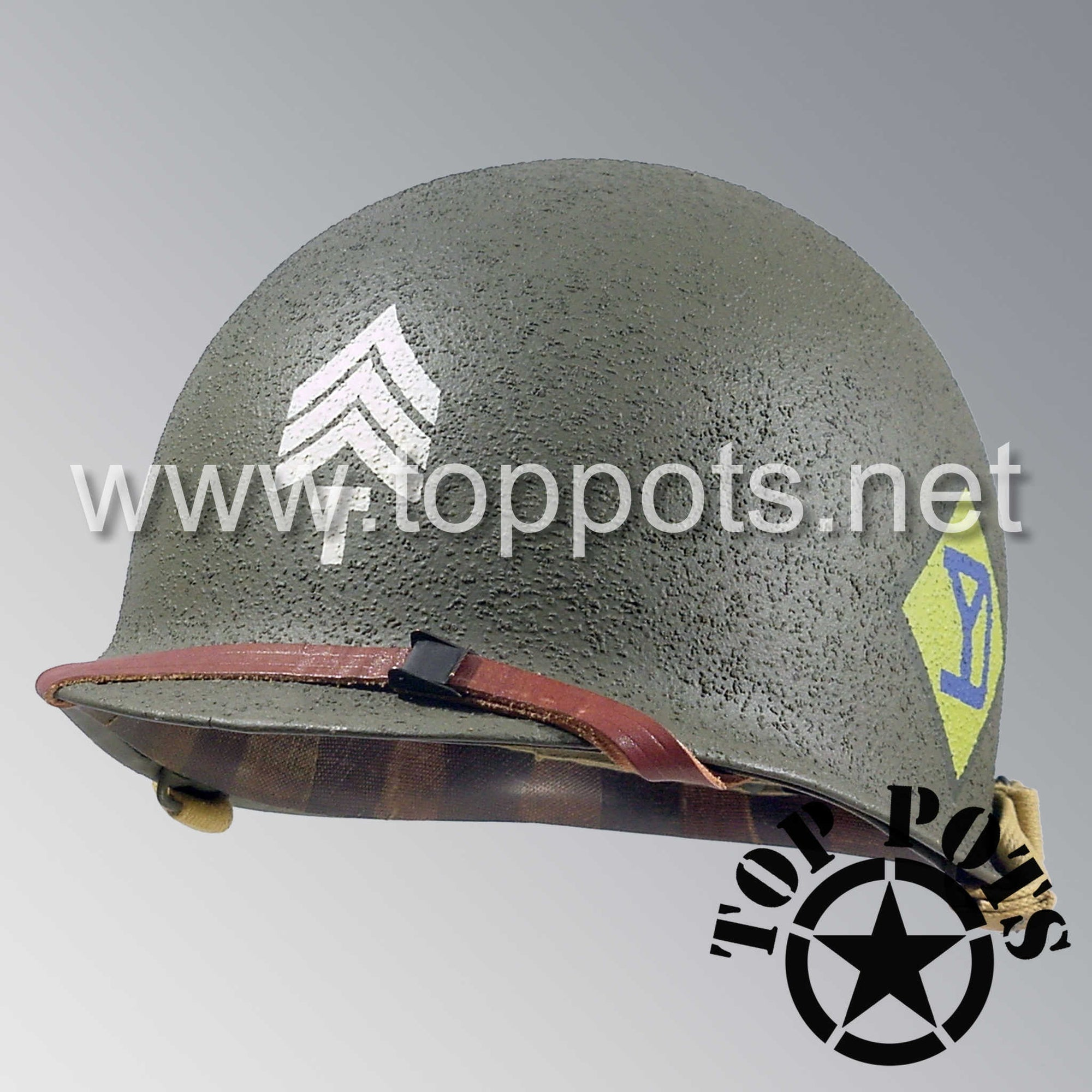 Image 1 of WWII US Army Restored Original M1 Infantry Helmet Swivel Bale Shell and Liner with 26th Infantry Division NCO Emblem