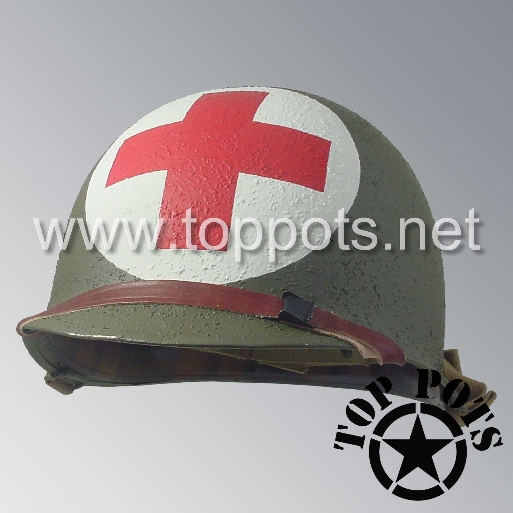 Image 1 of WWII US Army Restored Original M1 Infantry Helmet Swivel Bale Shell and Liner with 2nd Ranger Medic Wade Emblem