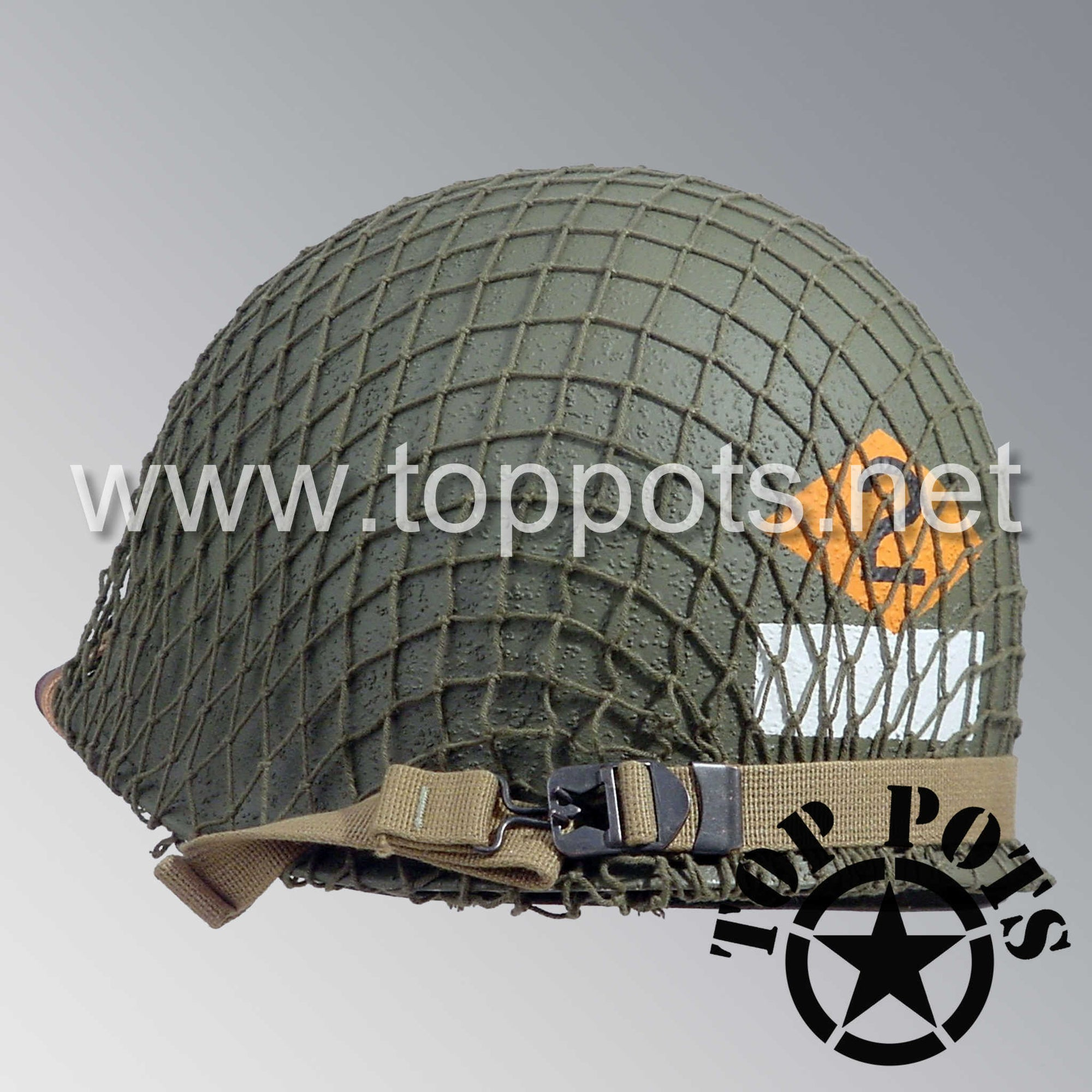 Image 5 of WWII US Army Restored Original M1 Infantry Helmet Swivel Bale Shell and Liner with 2nd Ranger NCO Emblem and OD 7 Net