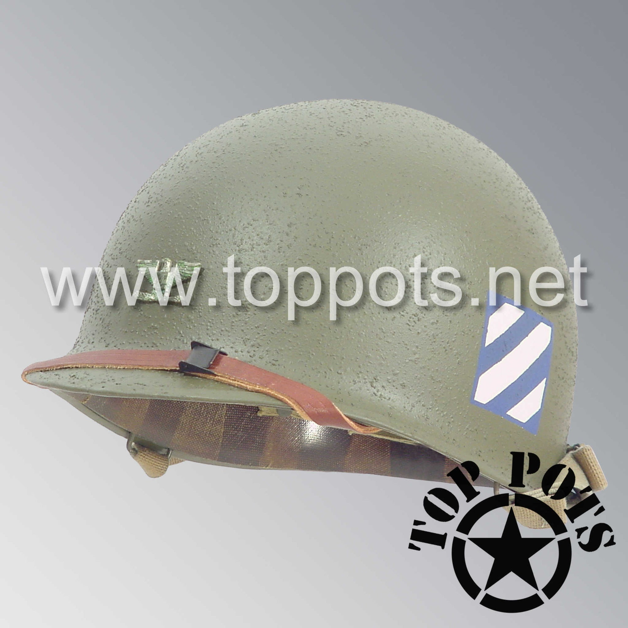 Image 1 of WWII US Army Restored Original M1 Infantry Helmet Swivel Bale Shell and Liner with 3rd Infantry Division Officer Colonel Metal Rank and Emblem