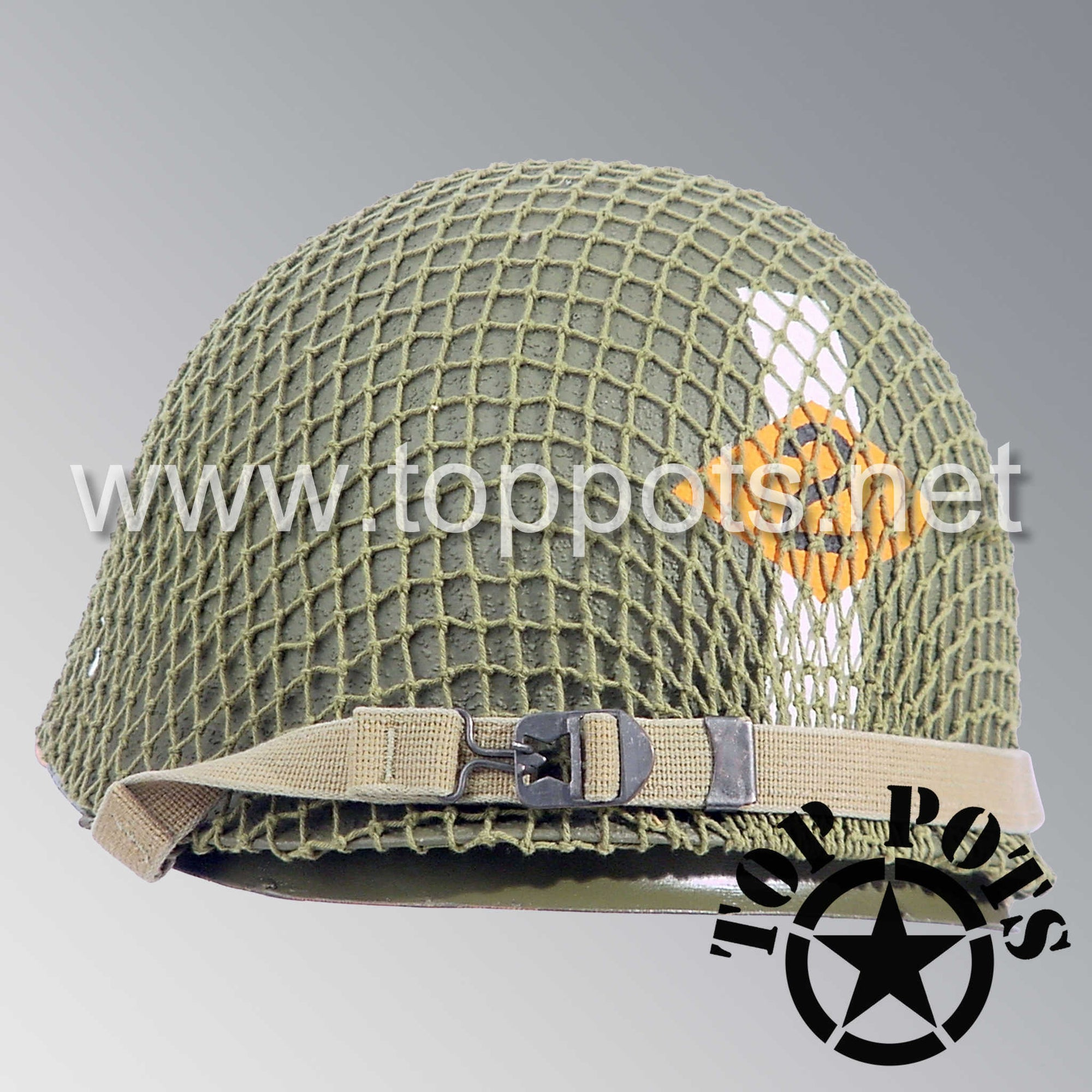 Image 5 of WWII US Army Restored Original M1 Infantry Helmet Swivel Bale Shell and Liner with 2nd Ranger Officer Captain Miller Metal Rank and Net