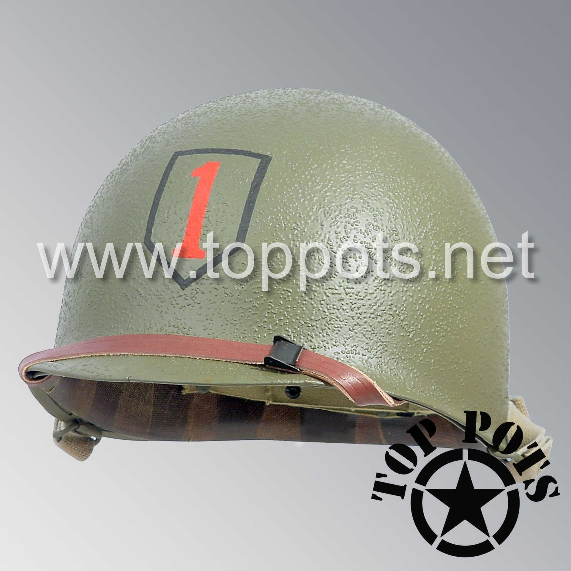 Image 1 of WWII US Army Restored Original M1 Infantry Helmet Swivel Bale Shell and Liner with 1st Infantry Division Emblem