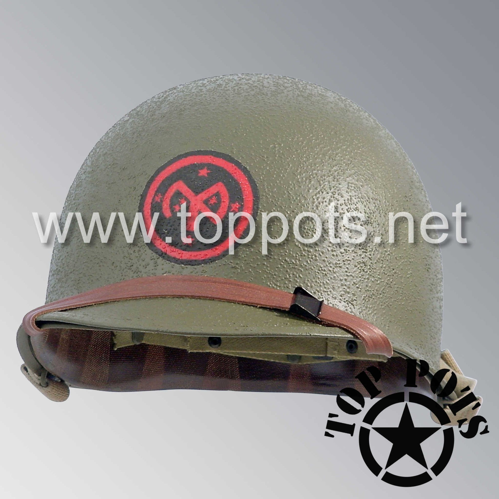 Image 1 of WWII US Army Restored Original M1 Infantry Helmet Swivel Bale Shell and Liner with 27th Infantry Division Emblem