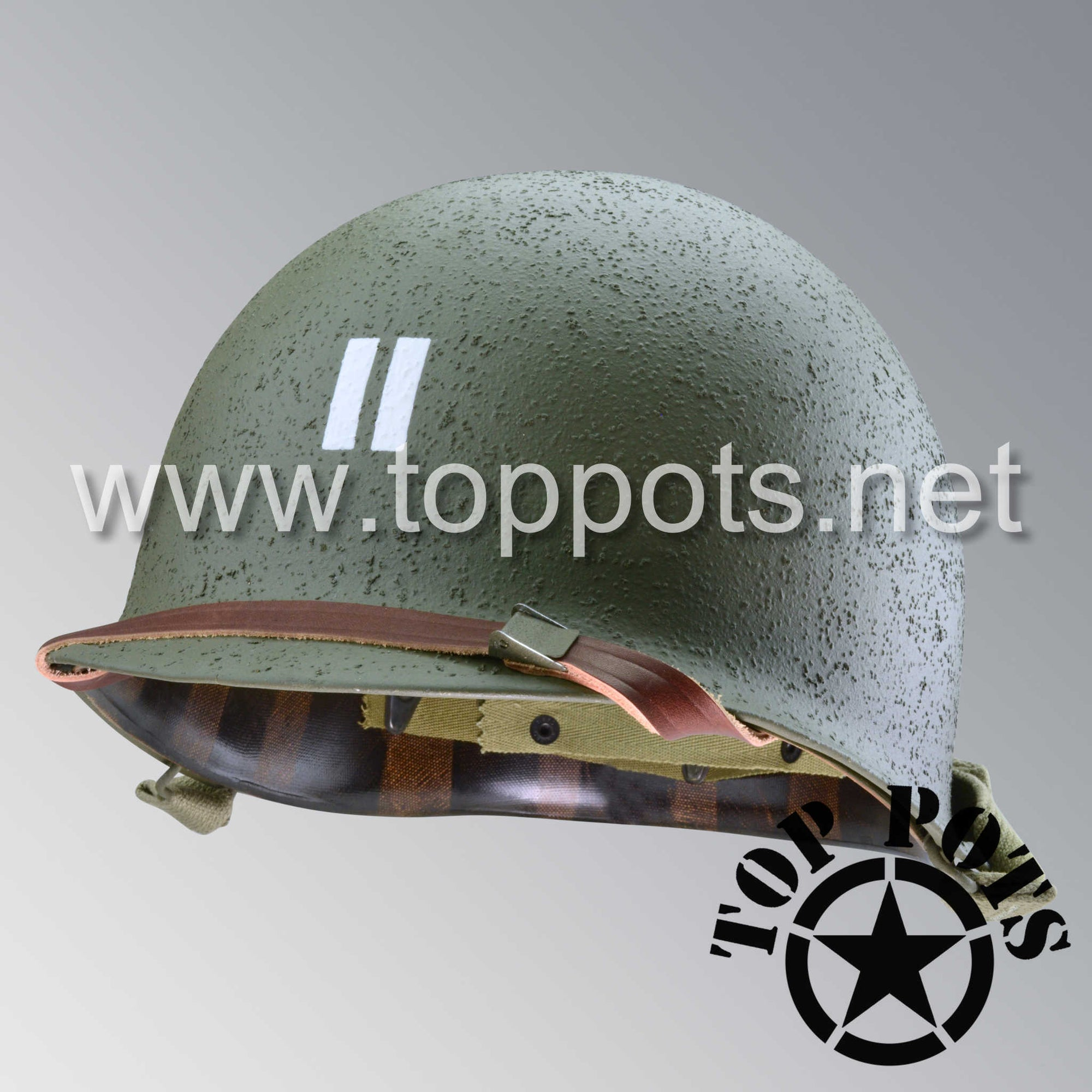 Image 1 of WWII US Army Restored Original M1 Infantry Helmet Swivel Bale Shell and Liner with 2nd Ranger Captain Rank and Leadership Stripe