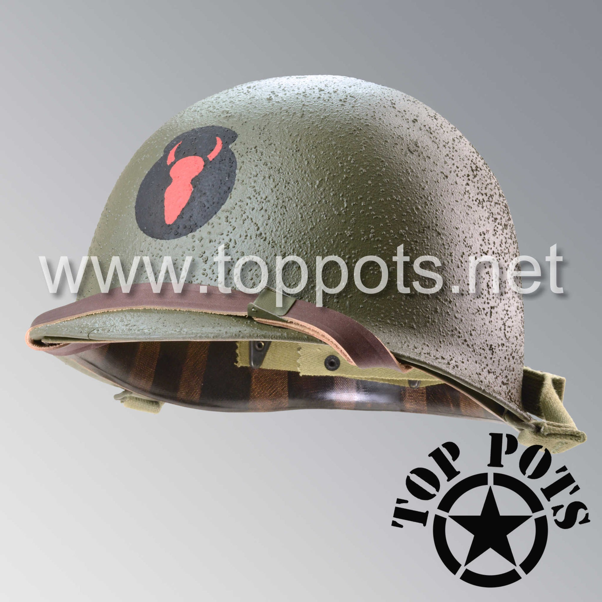 Image 1 of WWII US Army Restored Original M1 Infantry Helmet Swivel Bale Shell and Liner with 34th Infantry Division Emblem