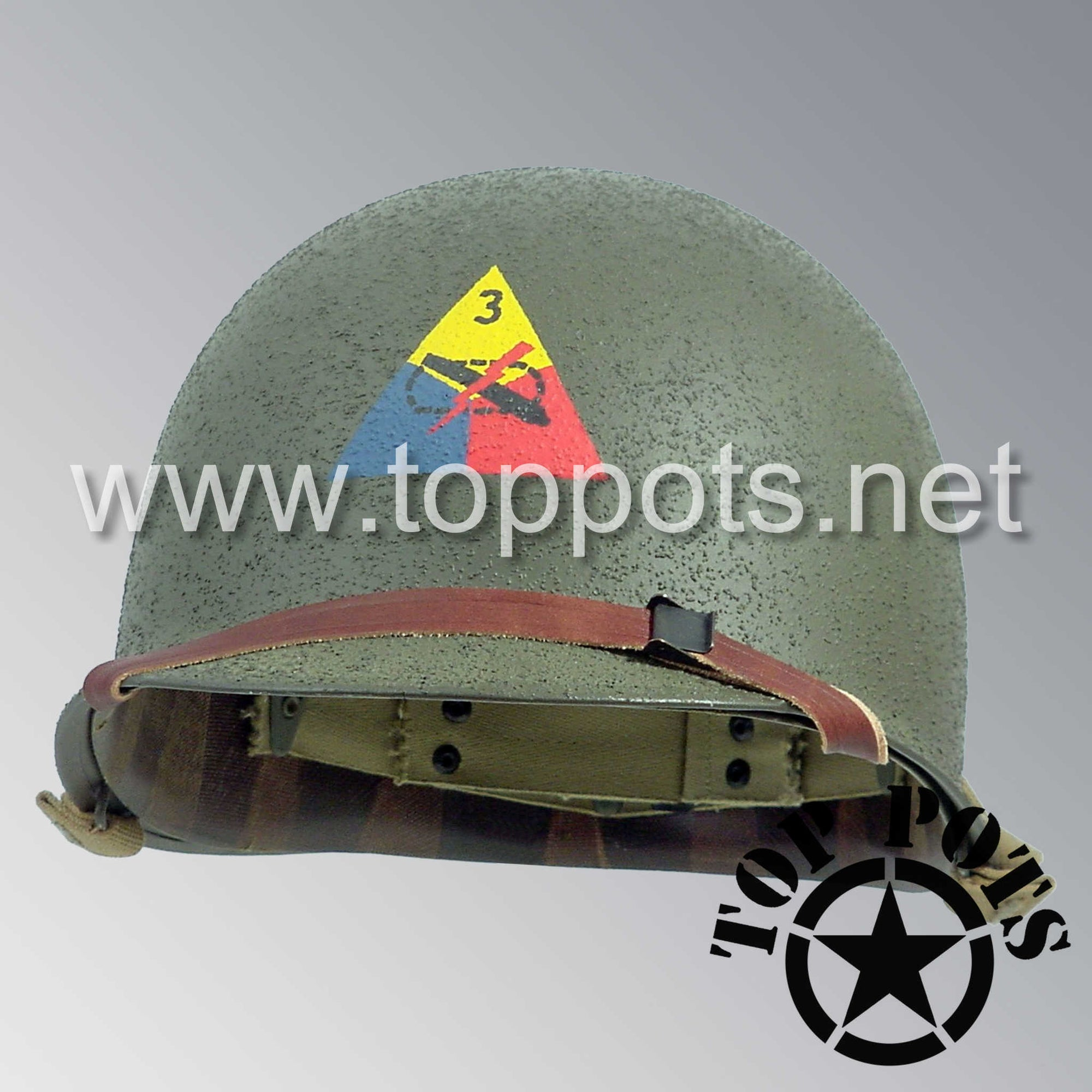 Image 1 of WWII US Army Restored Original M1 Infantry Helmet Swivel Bale Shell and Liner with 3rd Armored Division Emblem