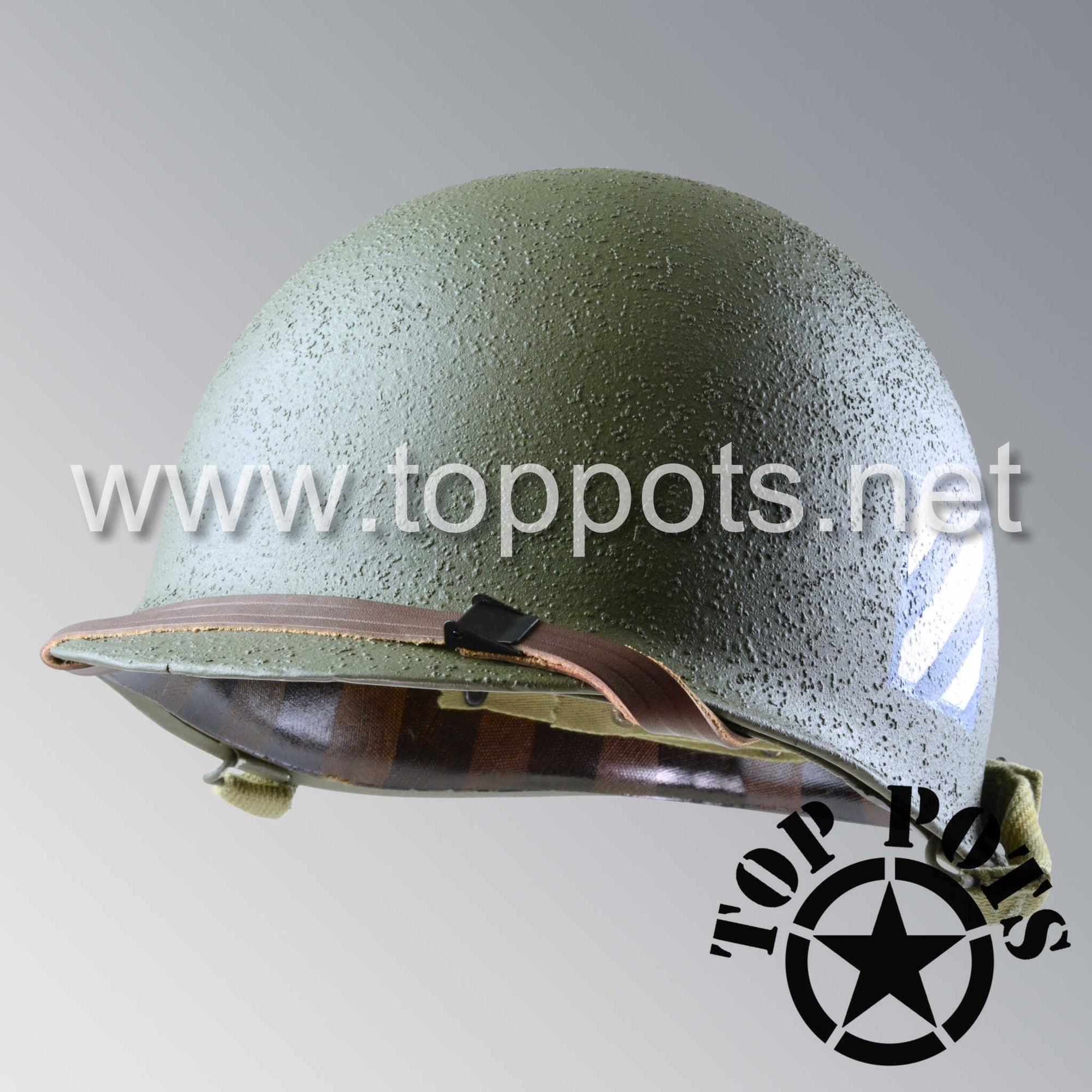 Image 1 of WWII US Army Restored Original M1 Infantry Helmet Swivel Bale Shell and Liner with 3rd Infantry Division Emblem - Schlueter Shell