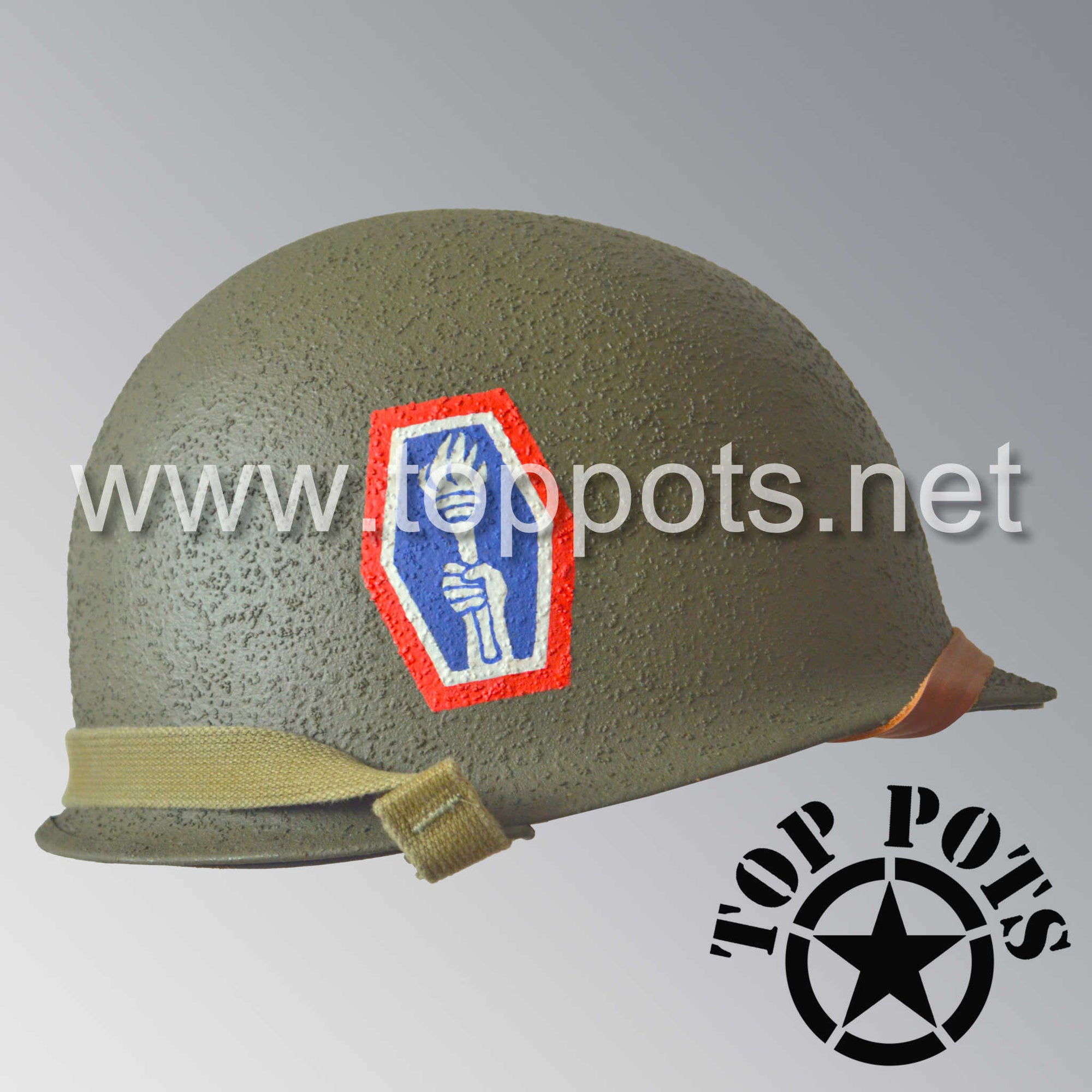 Image 2 of WWII US Army Restored Original M1 Infantry Helmet Swivel Bale Shell and Liner with 442nd Infantry Division Emblem