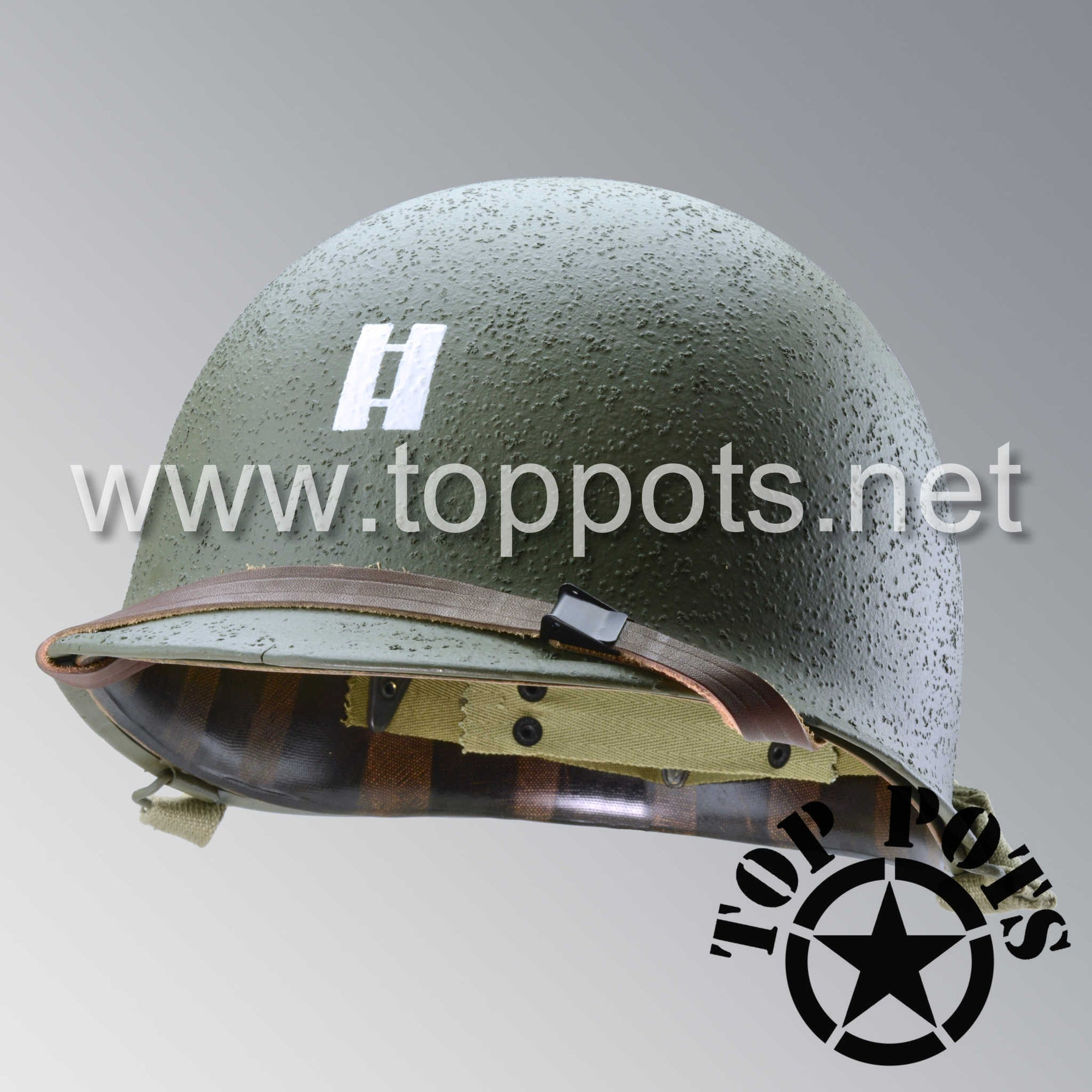 Image 1 of WWII US Army Restored Original M1 Infantry Helmet Swivel Bale Shell and Liner with 2nd Ranger Captain Miller Rank and Leadership Stripe