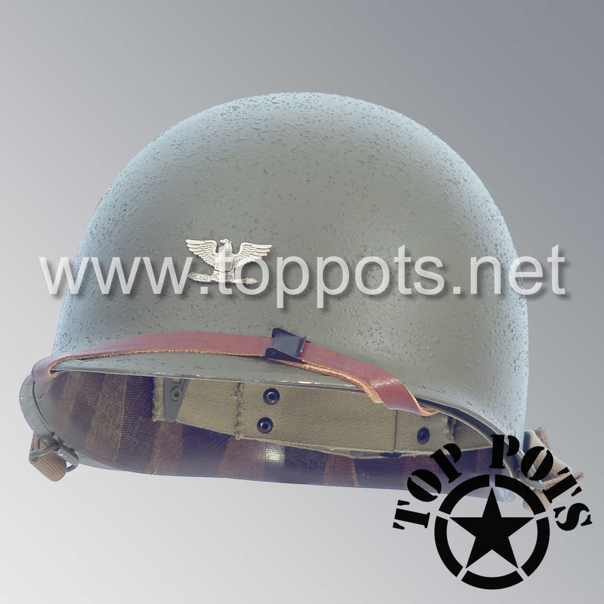 Image 1 of WWII US Army Restored Original M1 Infantry Helmet Swivel Bale Shell and Liner with Metal Colonel Officer Emblem