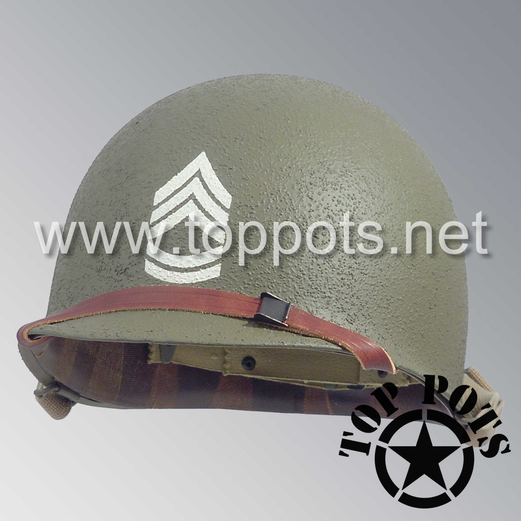 Image 1 of WWII US Army Restored Original M1 Infantry Helmet Swivel Bale Shell and Liner with Technical Sergeant Grade II NCO Emblem