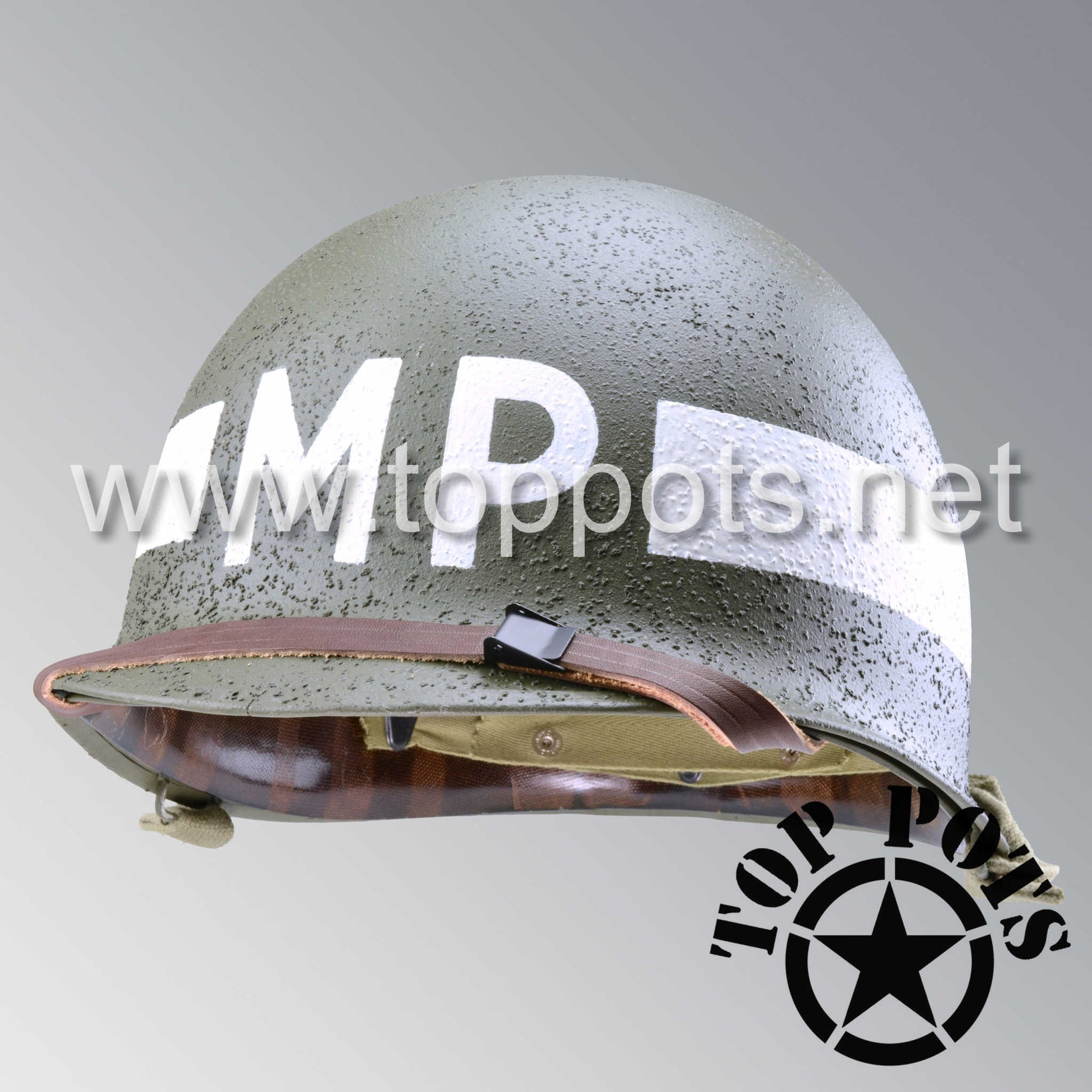Image 1 of WWII US Army Restored Original M1 Infantry Helmet Swivel Bale Shell and Liner with White Battalion MP Military Police Emblem