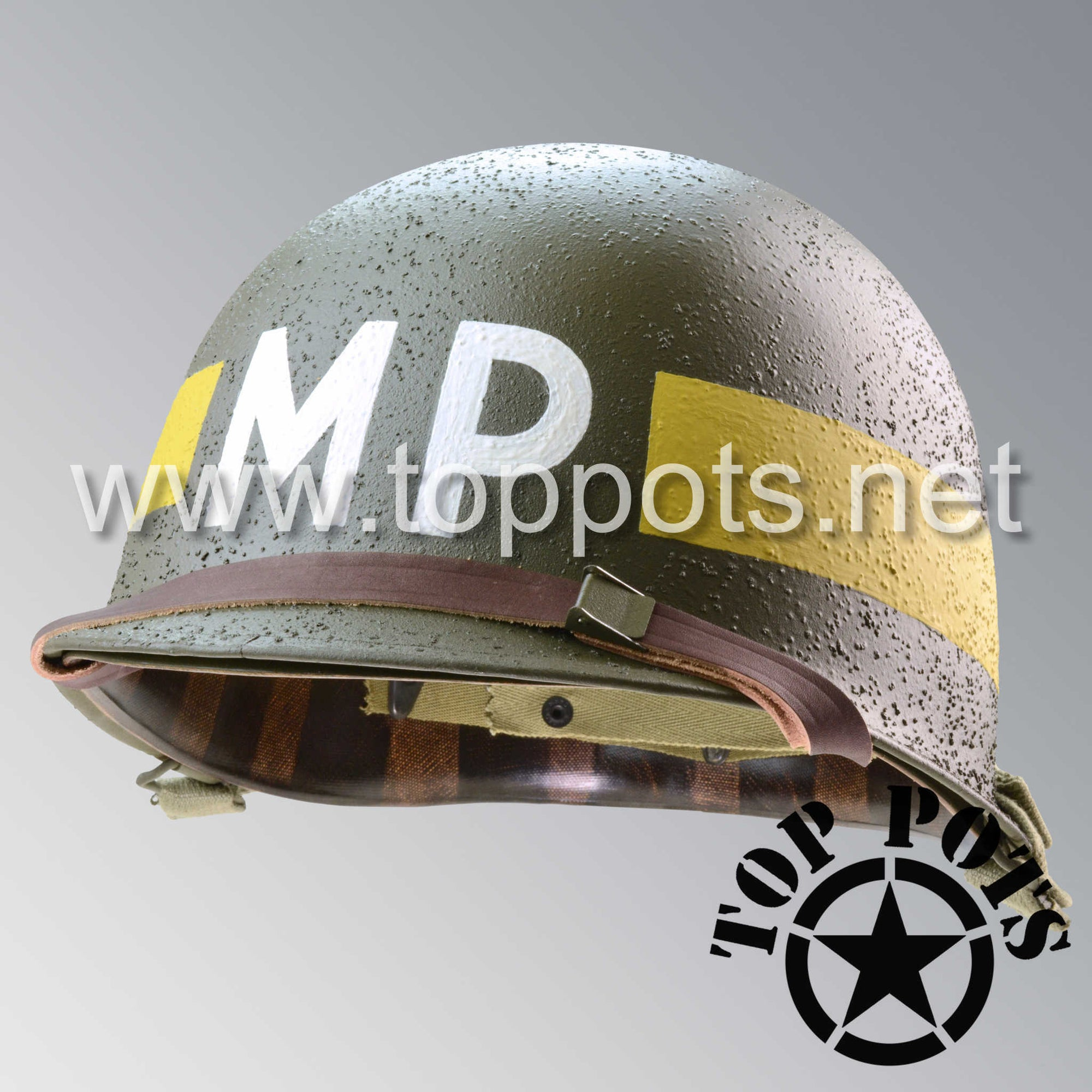 Image 1 of WWII US Army Restored Original M1 Infantry Helmet Swivel Bale Shell and Liner with Yellow Divisional MP Military Police Emblem
