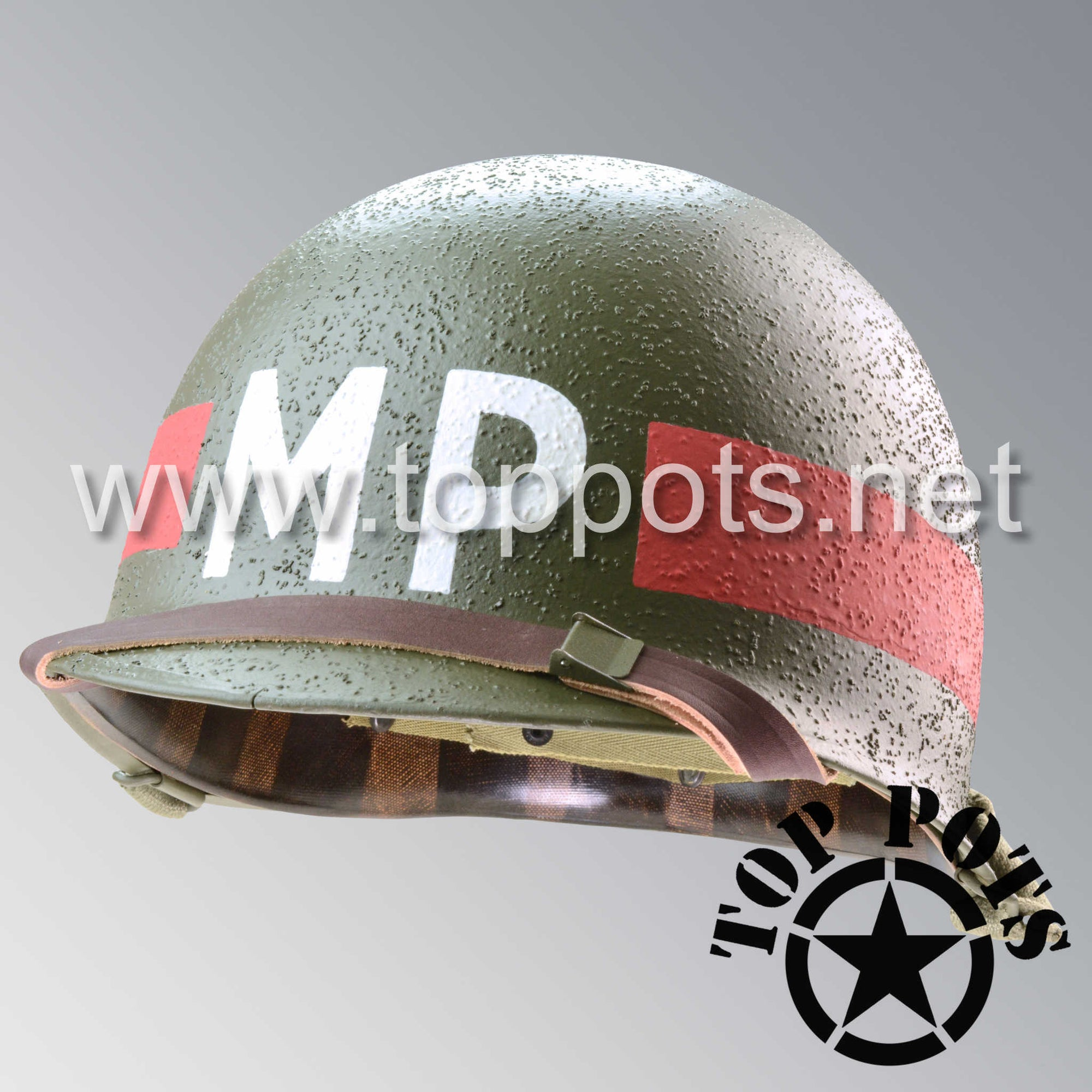 Image 1 of WWII US Army Restored Original M1 Infantry Helmet Swivel Bale Shell and Liner with Red Headquarter HQ MP Military Police Emblem