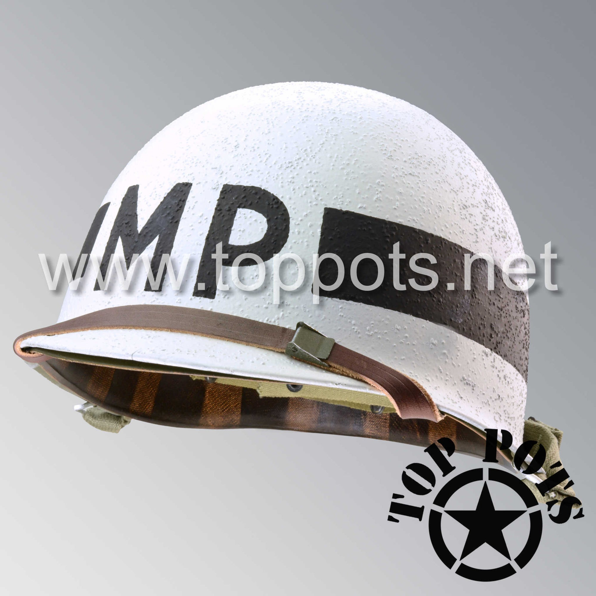 Image 1 of WWII US Army Restored Original M1 Infantry Helmet Swivel Bale Shell and Liner with White MP Military Police Emblem