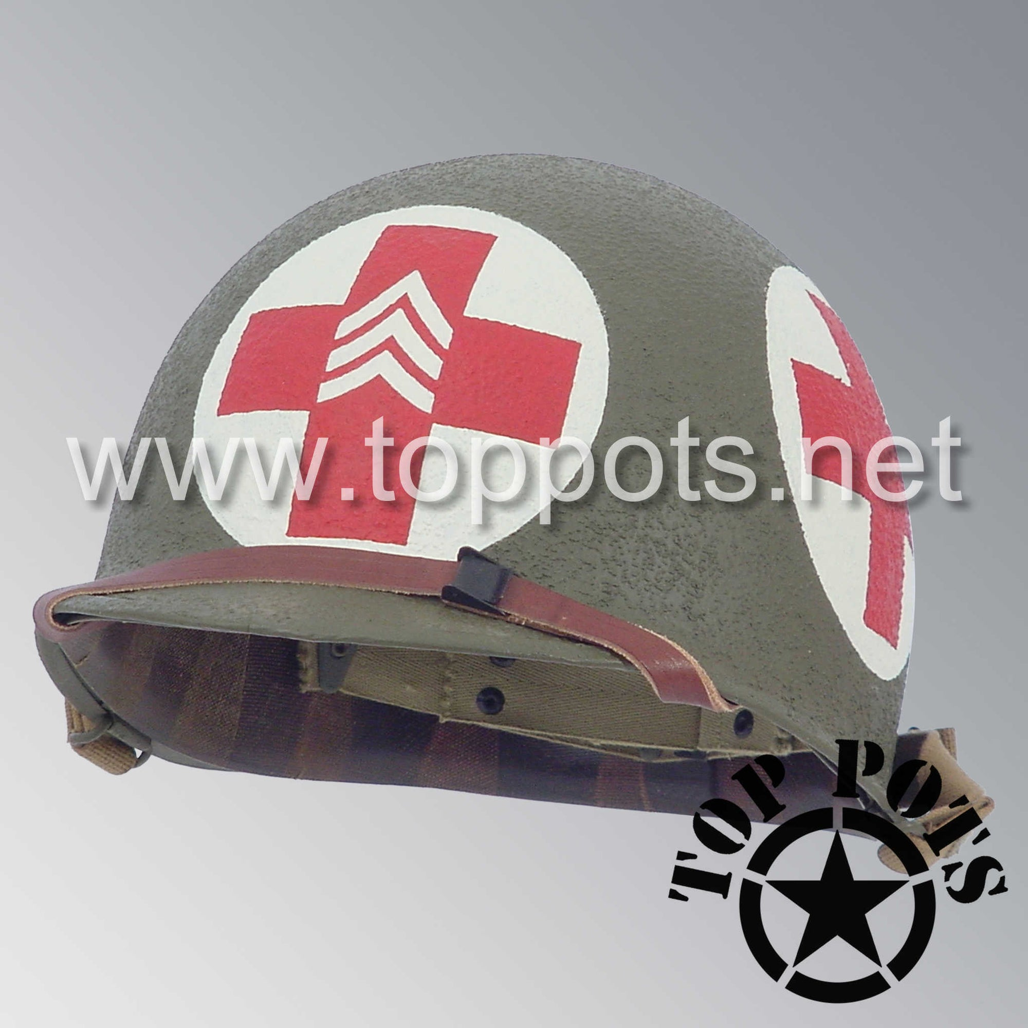 Image 1 of WWII US Army Restored Original M1 Infantry Helmet Swivel Bale Shell and Liner with Four Panel Medic NCO Emblem
