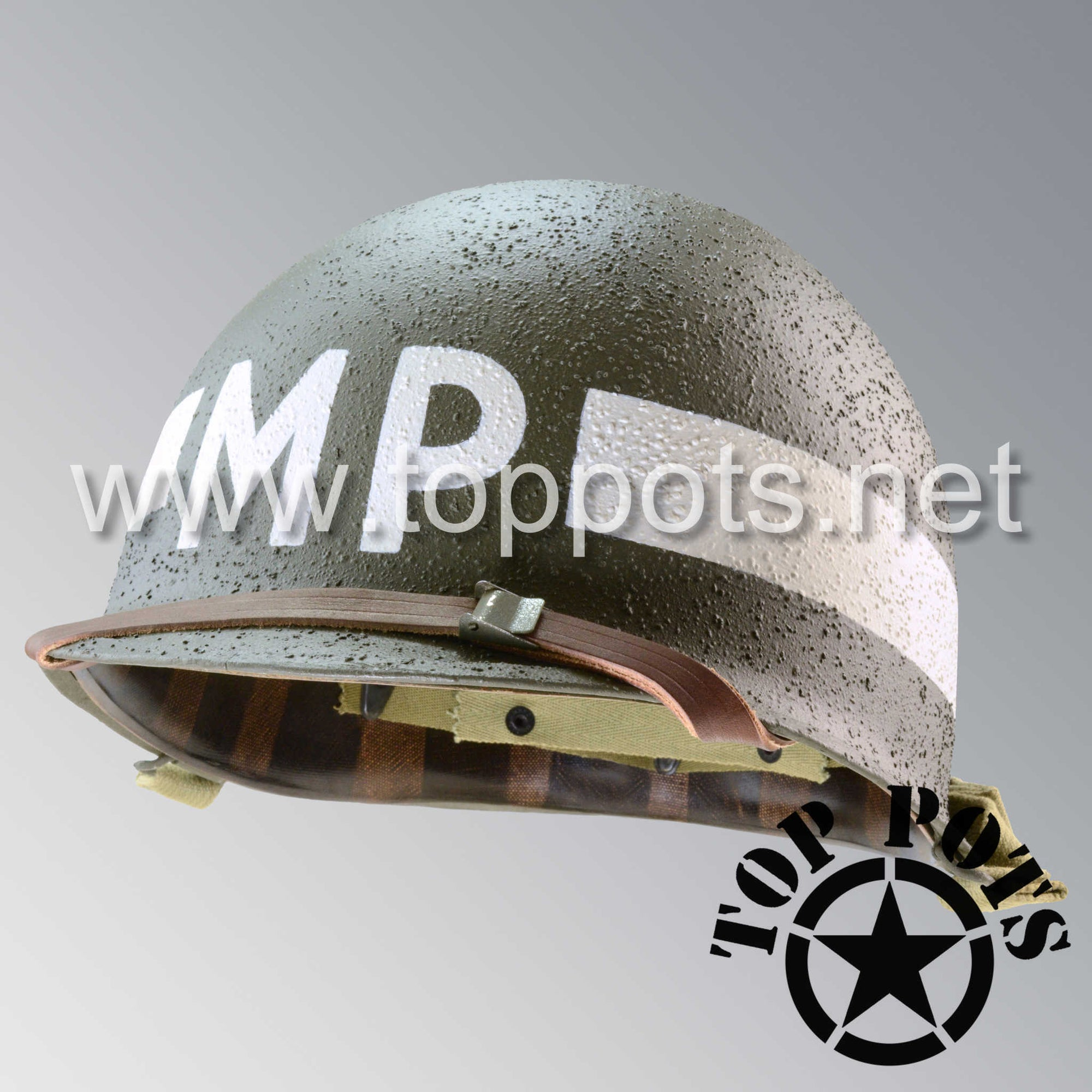 Image 1 of WWII US Army Restored Original M1 Infantry Helmet Swivel Bale Shell and Liner with White Battalion MP Military Police Emblem -Schlueter Shell