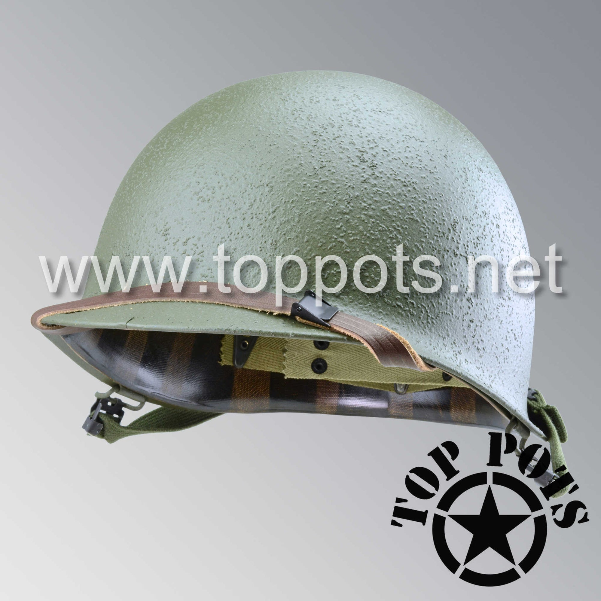 Image 1 of WWII US Army Restored Original M1 Infantry Helmet Swivel Bale Shell and Liner with Late War T1 Chinstraps
