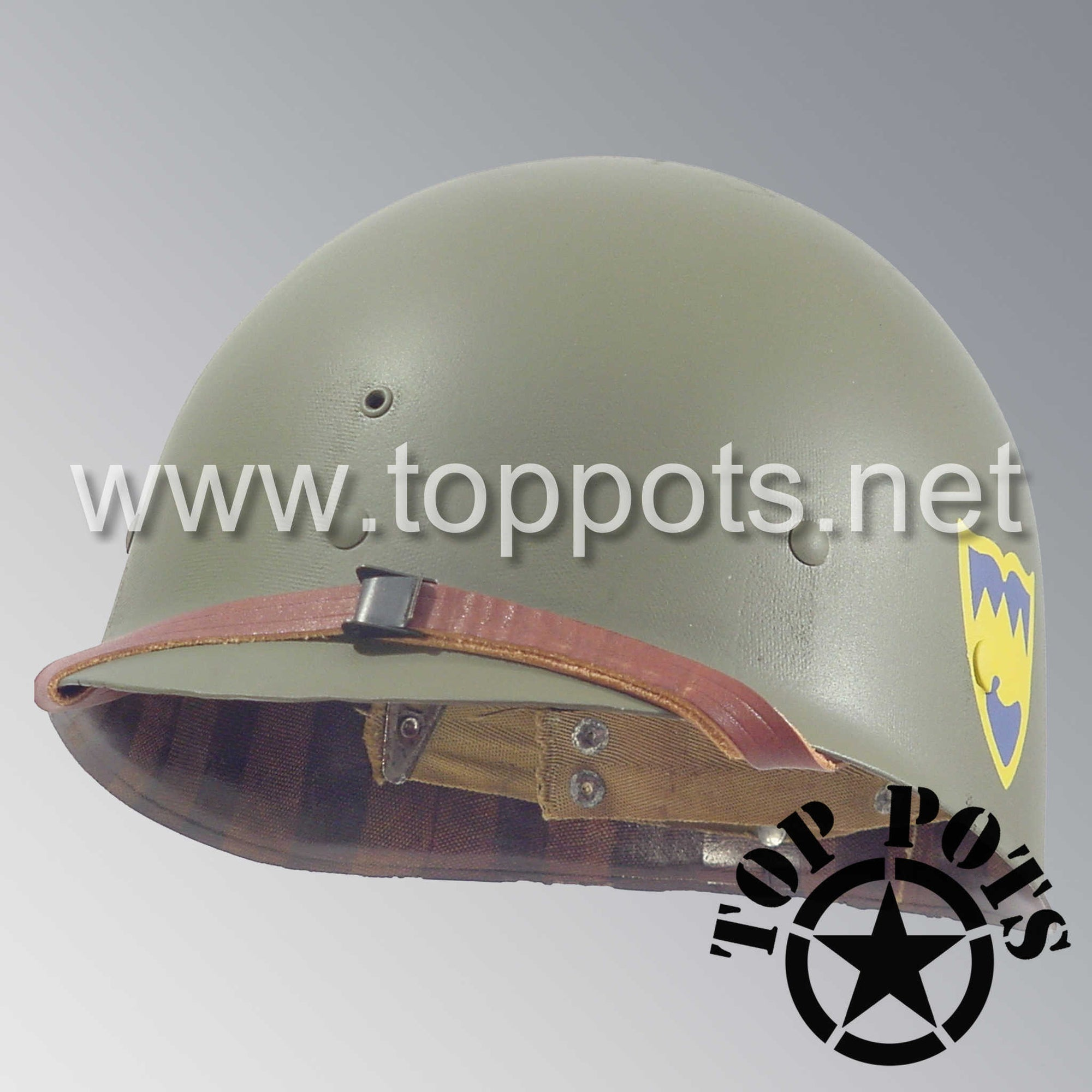 Image 1 of WWII US Army Restored Original M1 Infantry Helmet Liner with 104th Infantry Division 415th Regiment Emblem