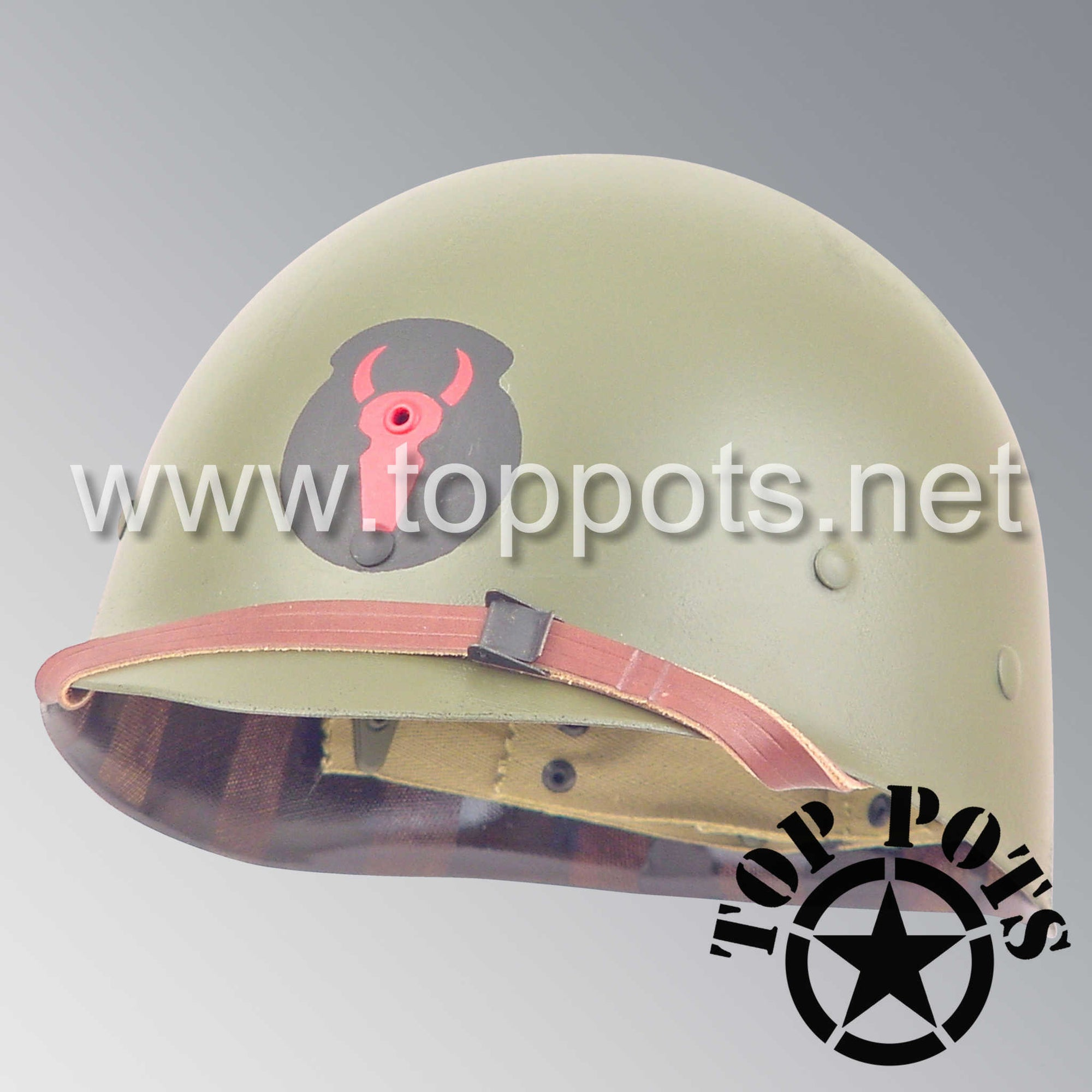 Image 1 of WWII US Army Restored Original M1 Infantry Helmet Liner with 34th Infantry Division Emblem