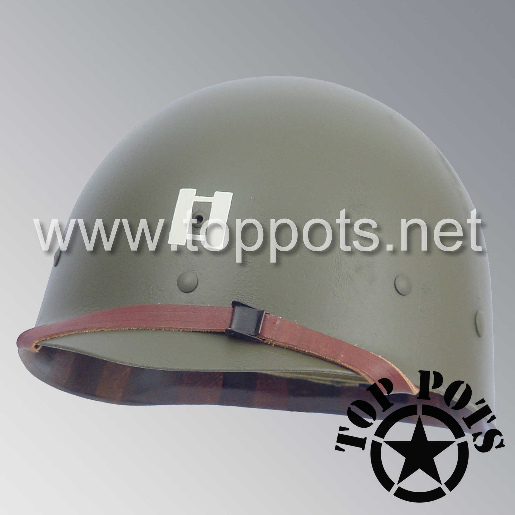 Image 1 of WWII US Army Restored Original M1 Infantry Helmet Liner with Officer Rank and Emblem