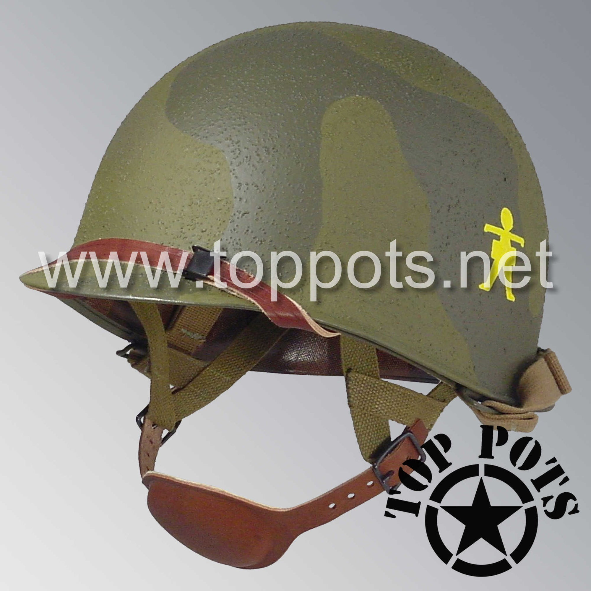 Image 1 of WWII US Army Restored Original M1C Paratrooper Airborne Helmet Swivel Bale Shell and Liner with 509th PIR Pathfinder Camouflage Emblem