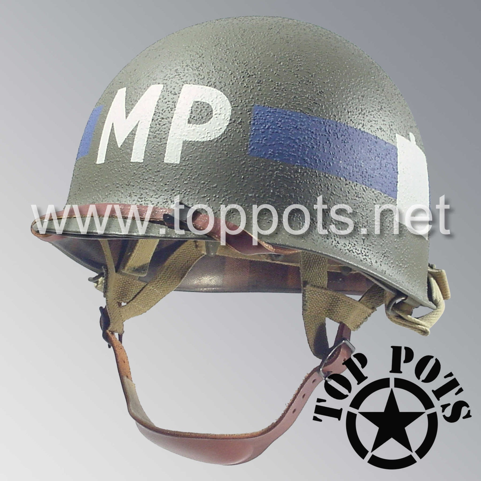 Image 1 of WWII US Army Restored Original M1C Paratrooper Airborne Helmet Swivel Bale Shell and Liner with 101st Airborne Divisional Police Platoon Emblem