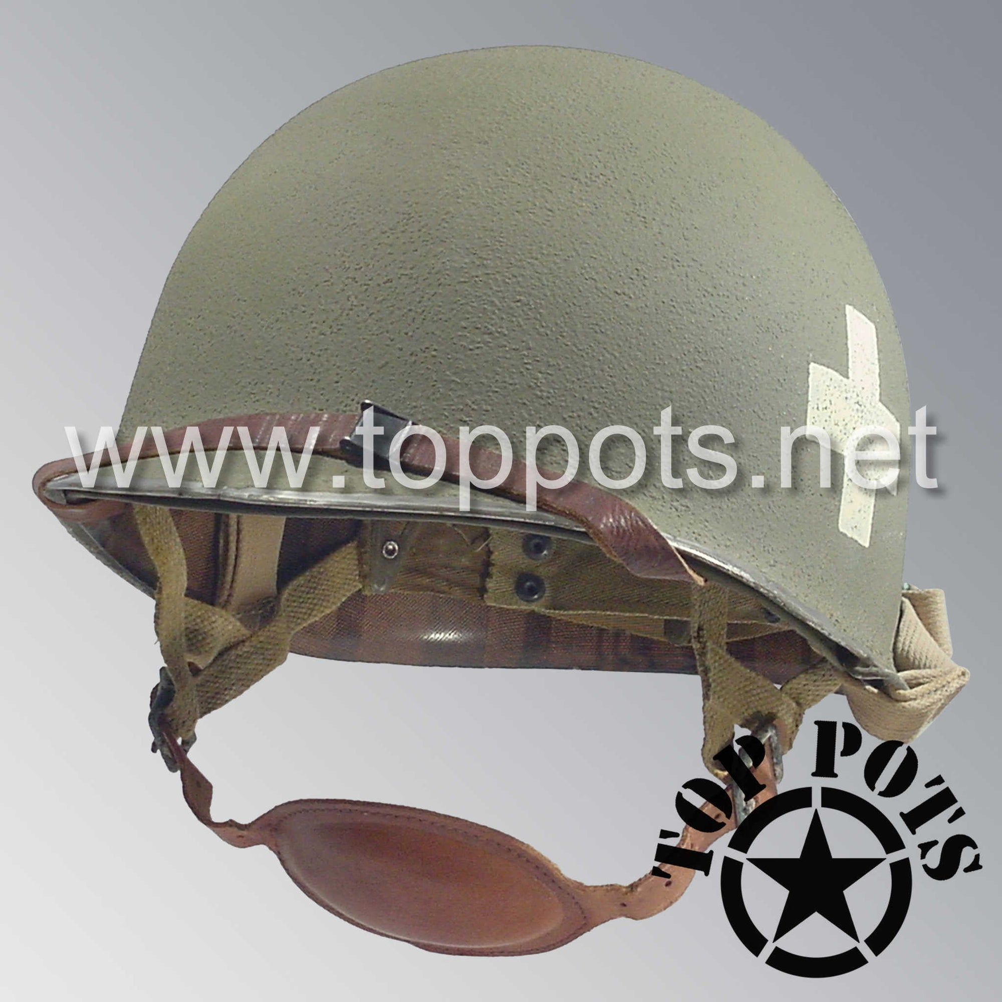 Image 1 of WWII US Army Restored Original M1C Paratrooper Airborne Helmet Swivel Bale Shell and Liner with 101st 326th Airborne Medical Company NCO Emblem