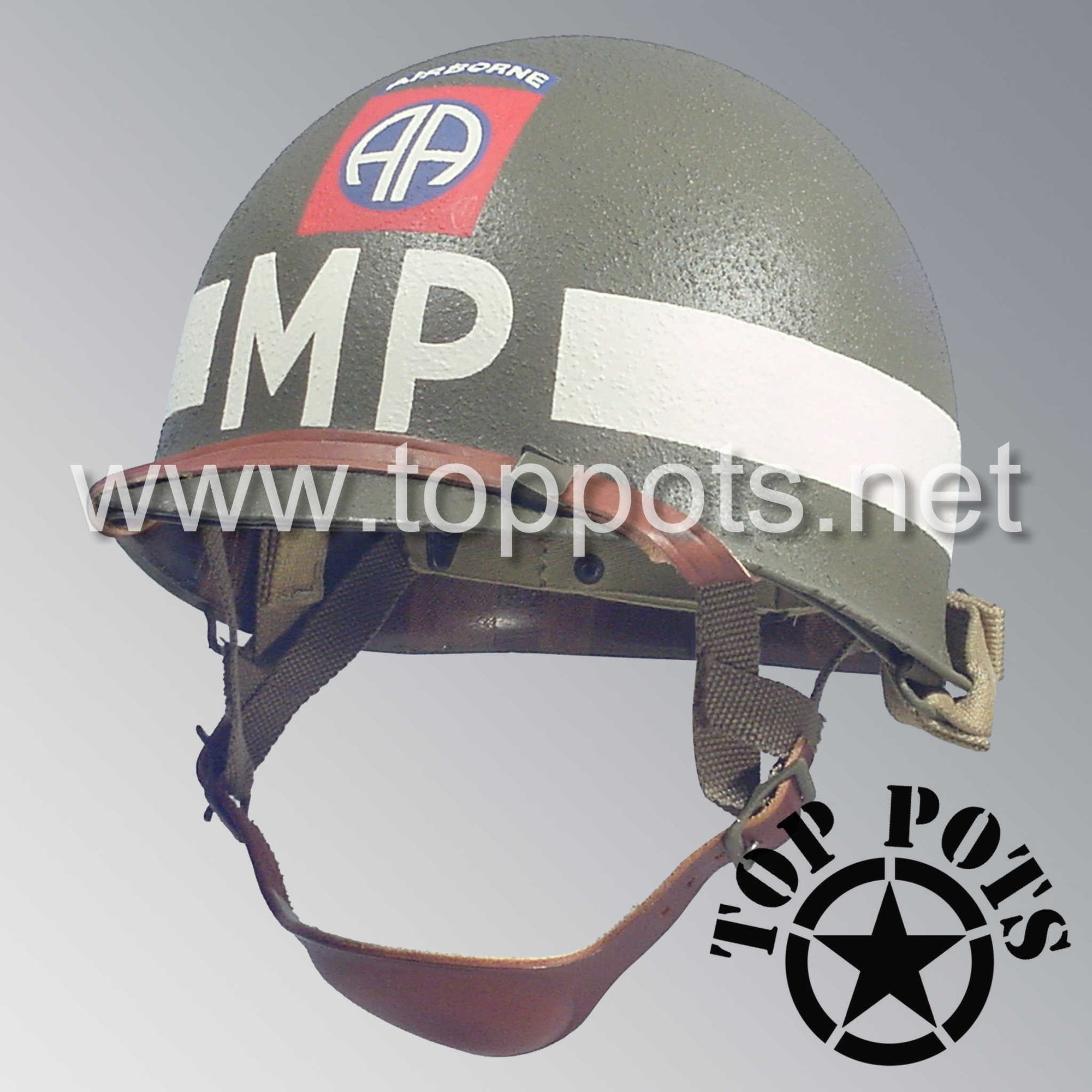 Image 1 of WWII US Army Restored Original M1C Paratrooper Airborne Helmet Swivel Bale Shell and Liner with 82nd Airborne Military Police Battalion MP Emblem
