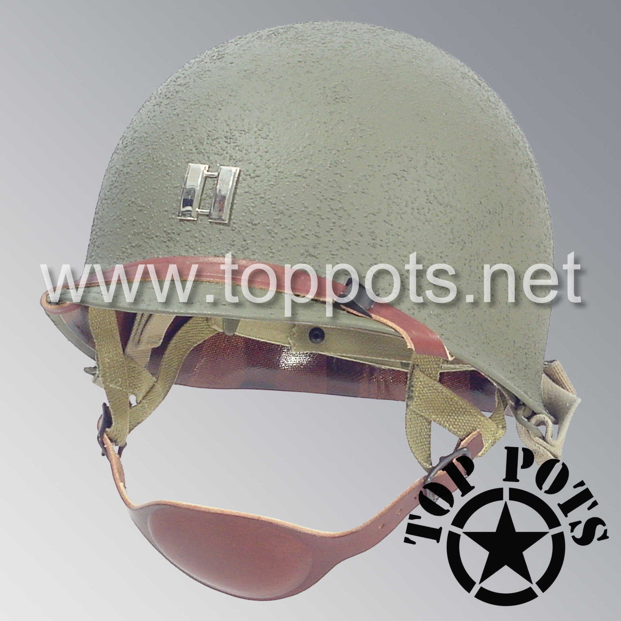 Image 1 of WWII US Army Restored Original M1C Paratrooper Airborne Helmet Swivel Bale Shell and Liner with Metal Captain Officer Rank Emblem