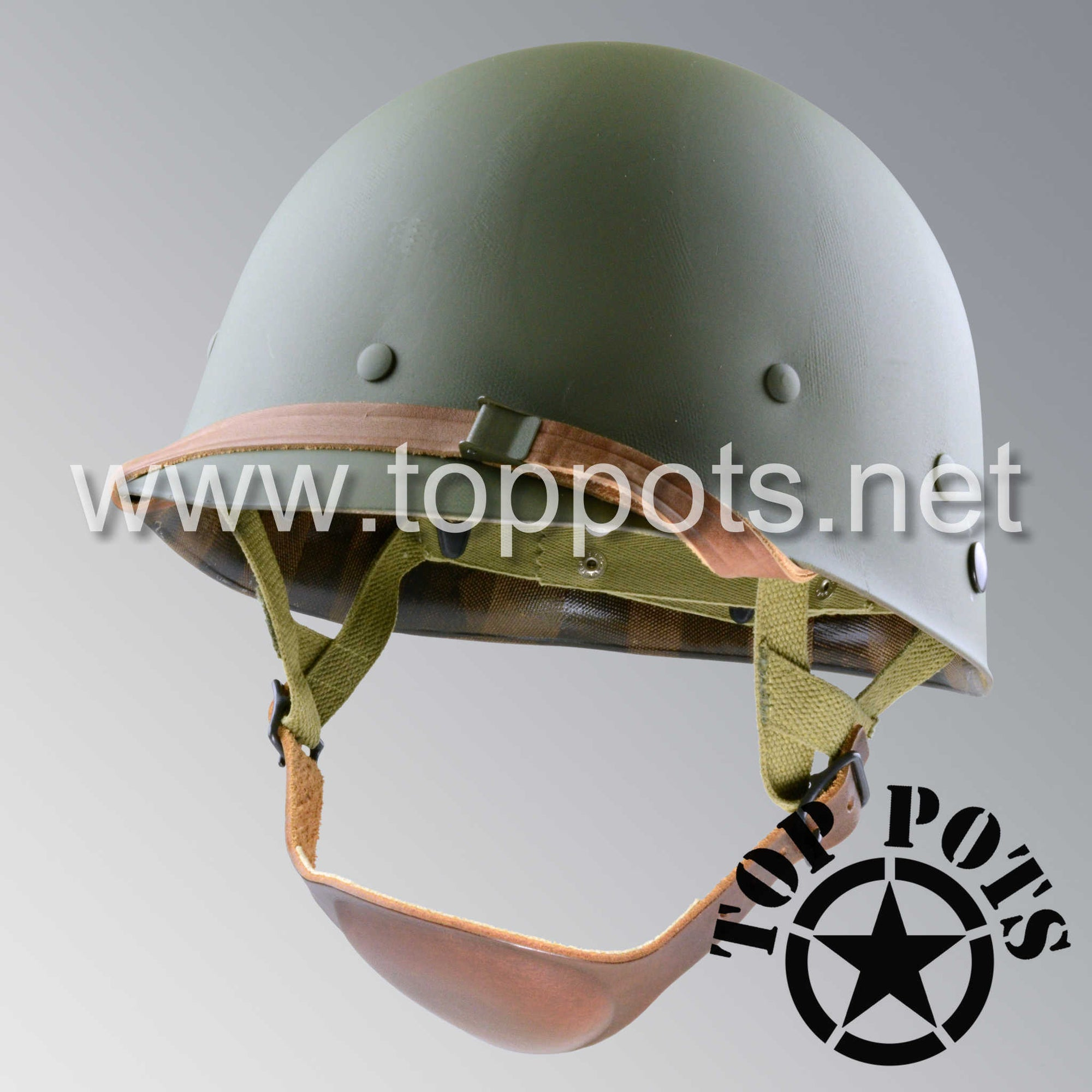 WWII US Army Restored Original M1C Paratrooper Airborne Helmet Liner with Inland A Straps P55 Model
