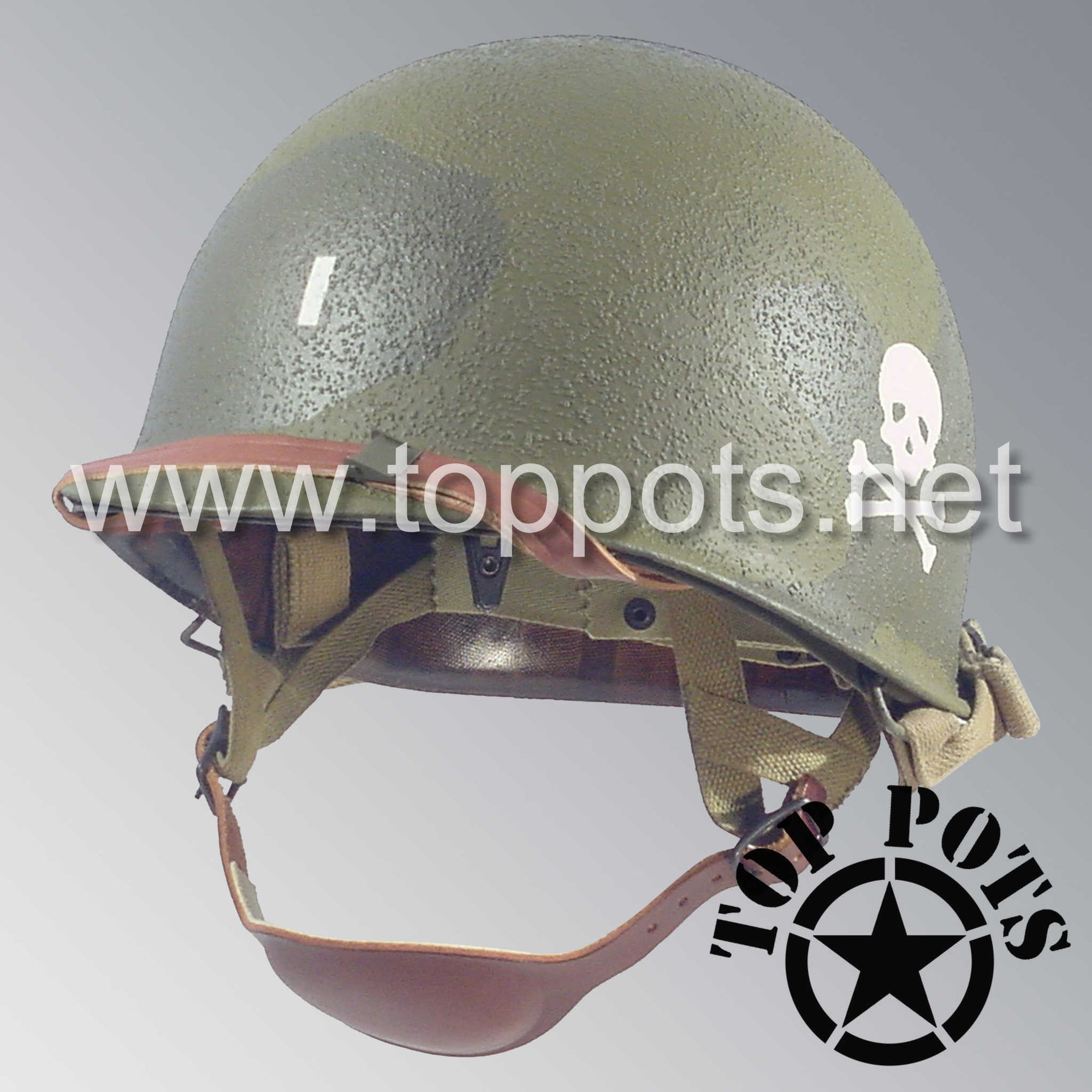 Image 1 of WWII US Army Restored Original M1C Paratrooper Airborne Helmet Swivel Bale Shell and Liner with 504th PIR Officer Pathfinder Camouflage Emblem