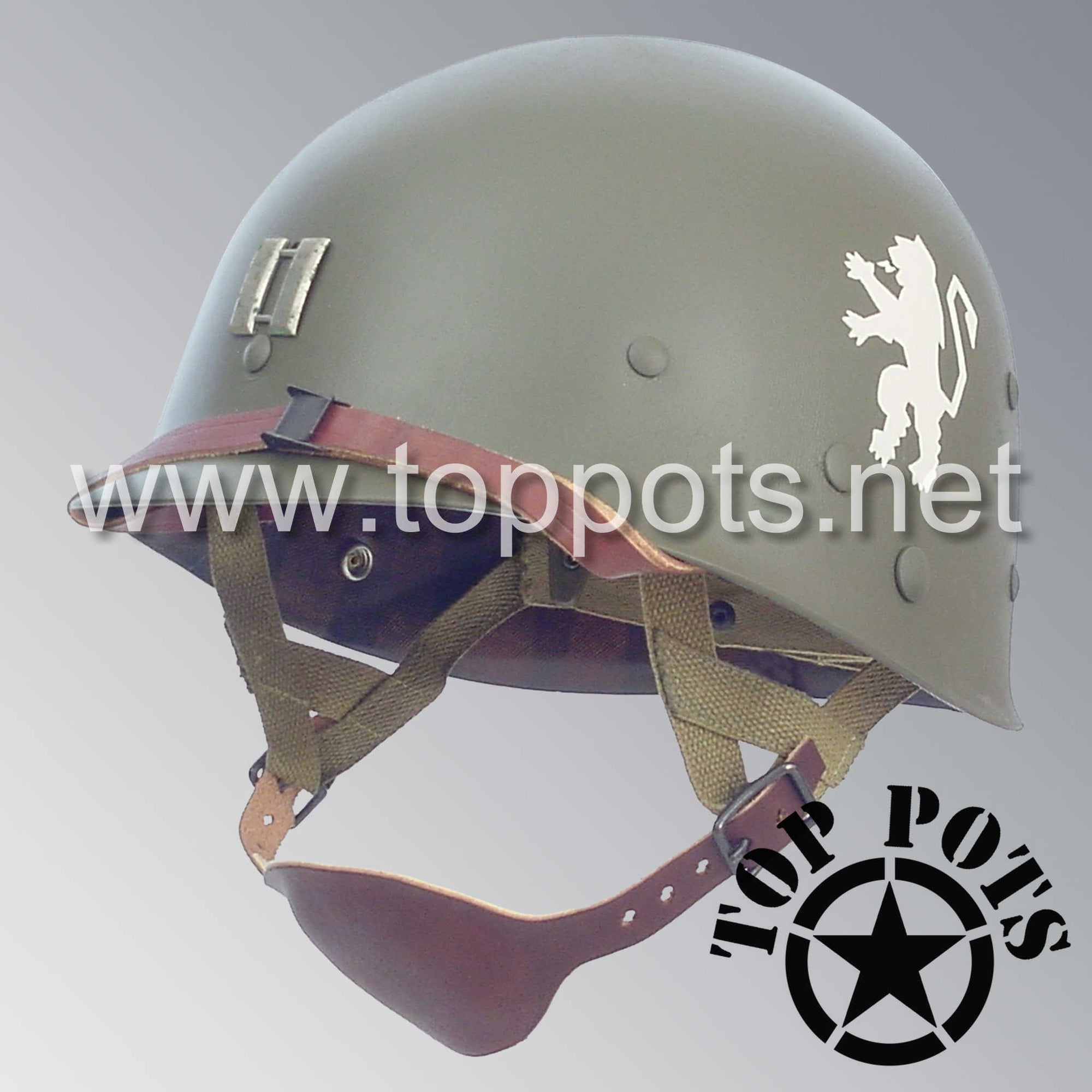 Image 1 of WWII US Army Restored Original M1C Paratrooper Airborne Helmet Liner with 505th PIR Officer Emblem