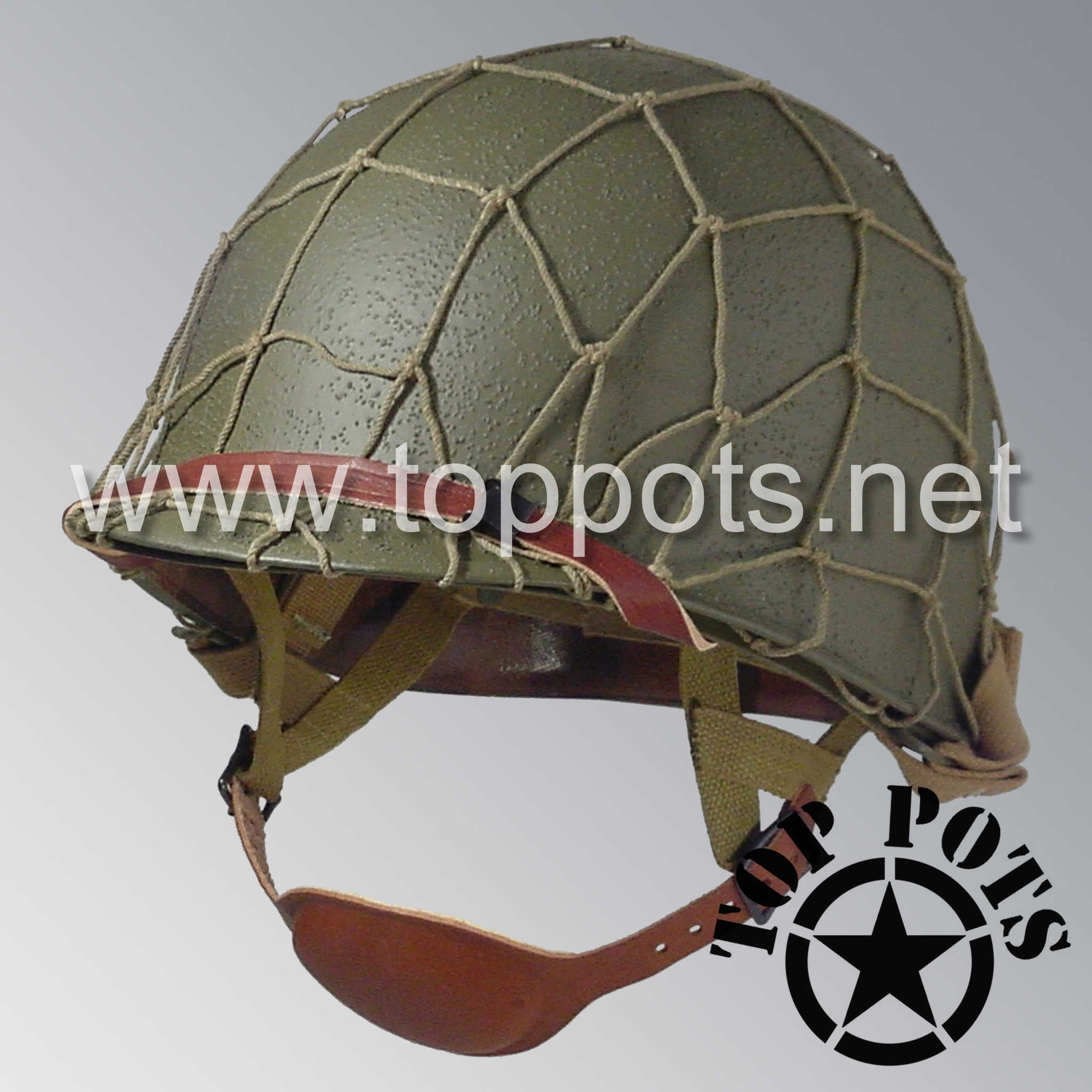 Image 1 of WWII US Army Restored Original M1C Paratrooper Airborne Helmet Swivel Bale Shell and Liner with Large Cargo Net