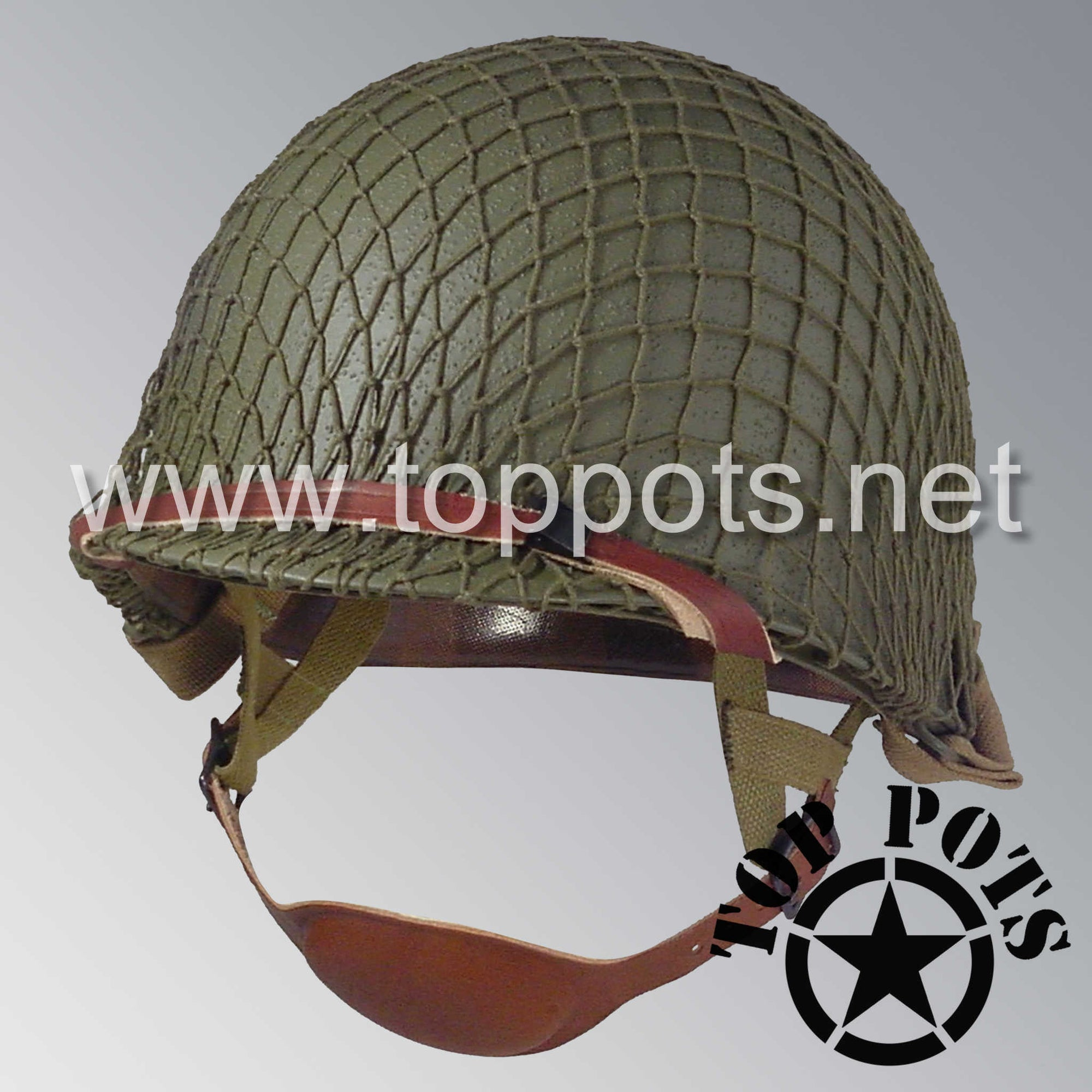 Image 1 of WWII US Army Restored Original M1C Paratrooper Airborne Helmet Swivel Bale Shell and Liner with OD 7 Net