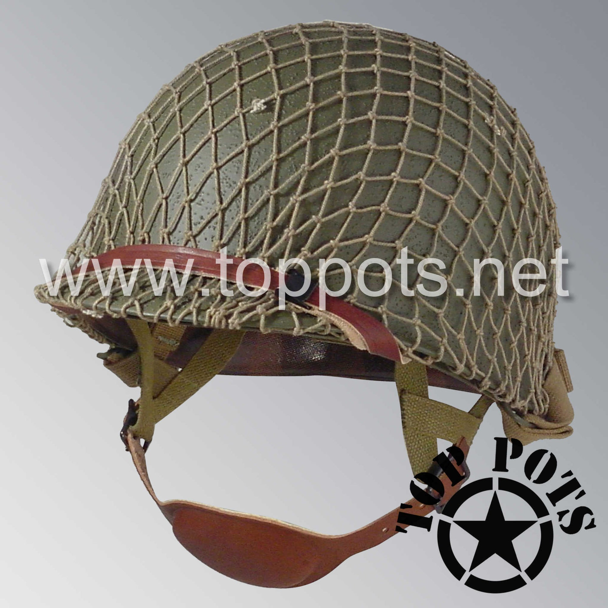 Image 1 of WWII US Army Restored Original M1C Paratrooper Airborne Helmet Swivel Bale Shell and Liner with Khaki Net
