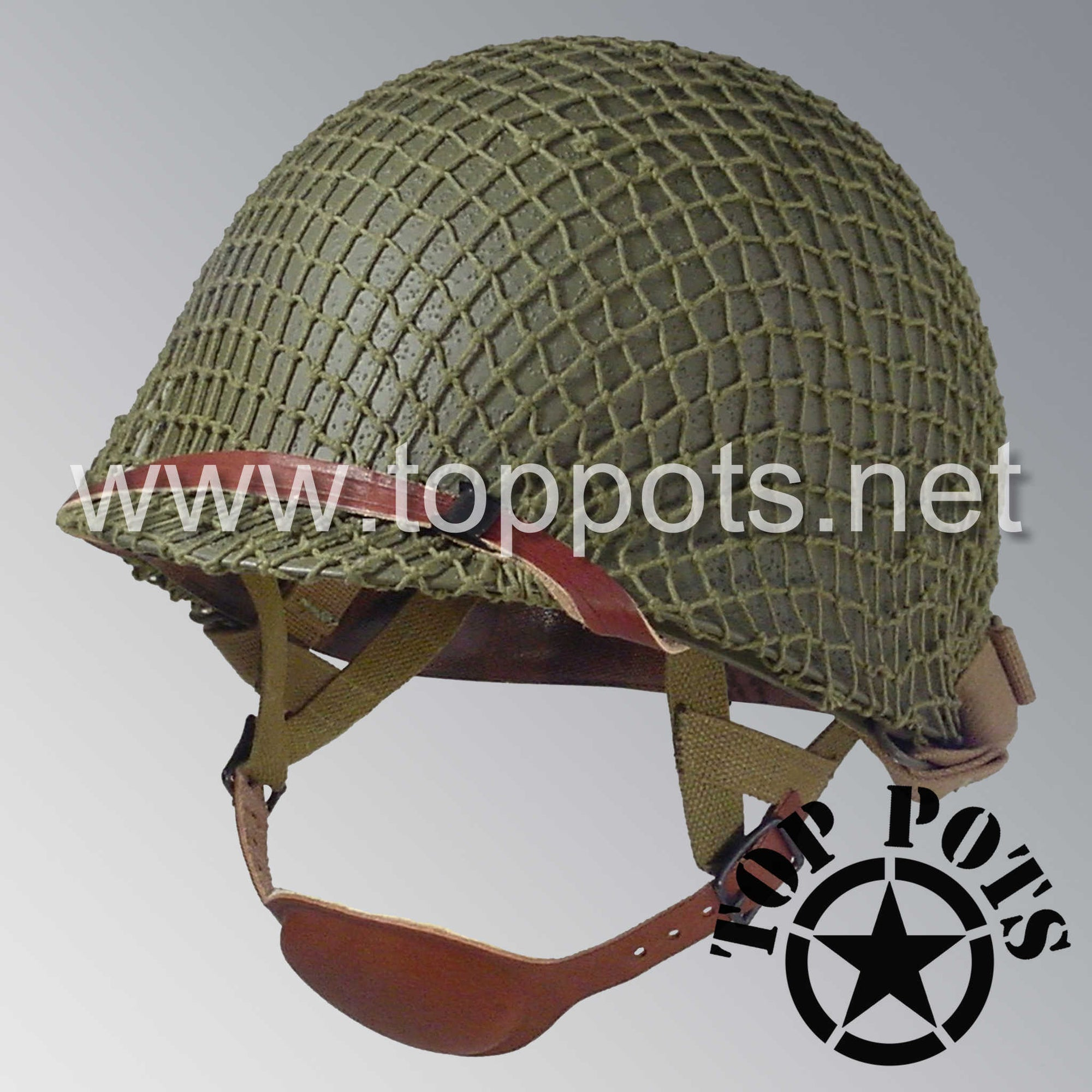 Image 1 of WWII US Army Restored Original M1C Paratrooper Airborne Helmet Swivel Bale Shell and Liner with OD 3 Net