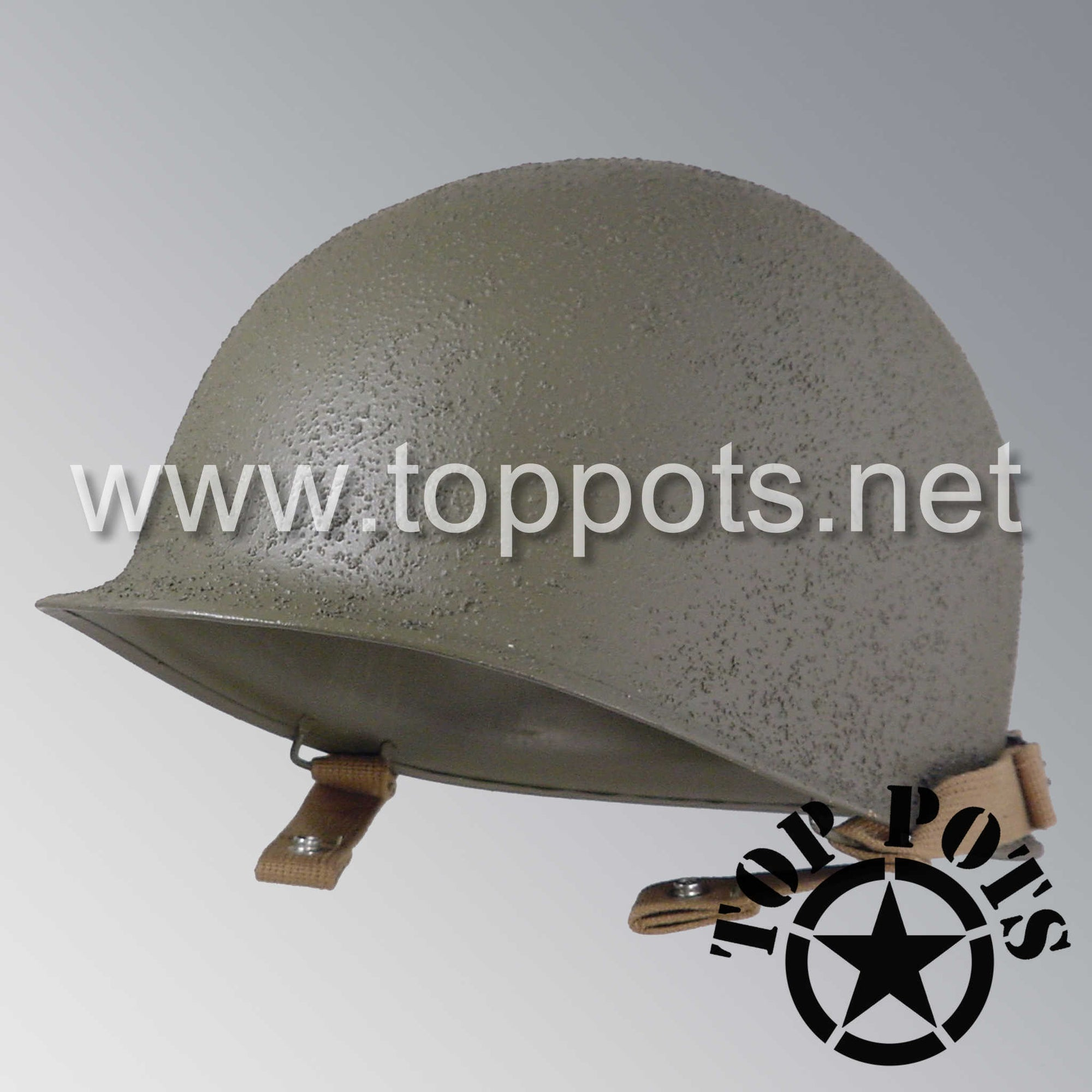 Image 1 of WWII US Army Restored Original M1C Paratrooper Airborne Helmet Fix Bale Shell with Chinstraps