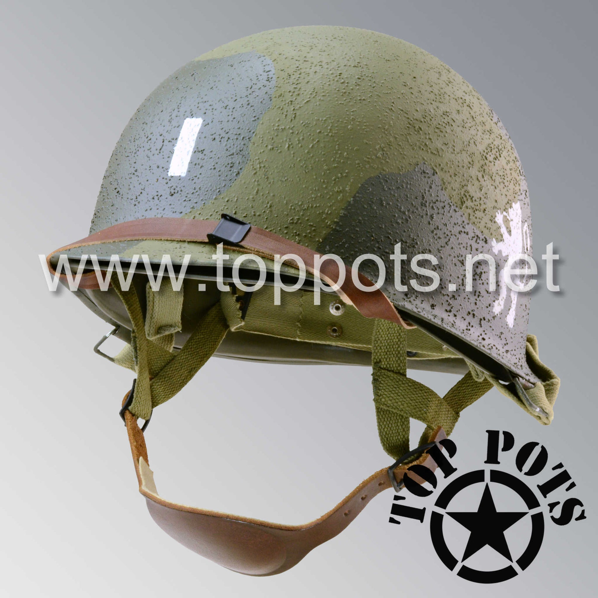 WWII US Army Reproduction M1C Paratrooper Helmet and Liner with 505th Officer Emblem