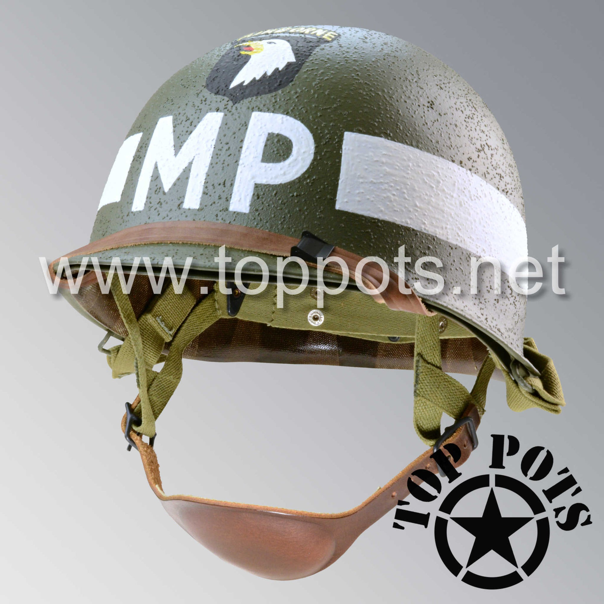 Image 1 of WWII US Army Restored Original M1C Paratrooper Airborne Helmet Swivel Bale Shell and Liner with 101st Airborne MP Military Police Emblem