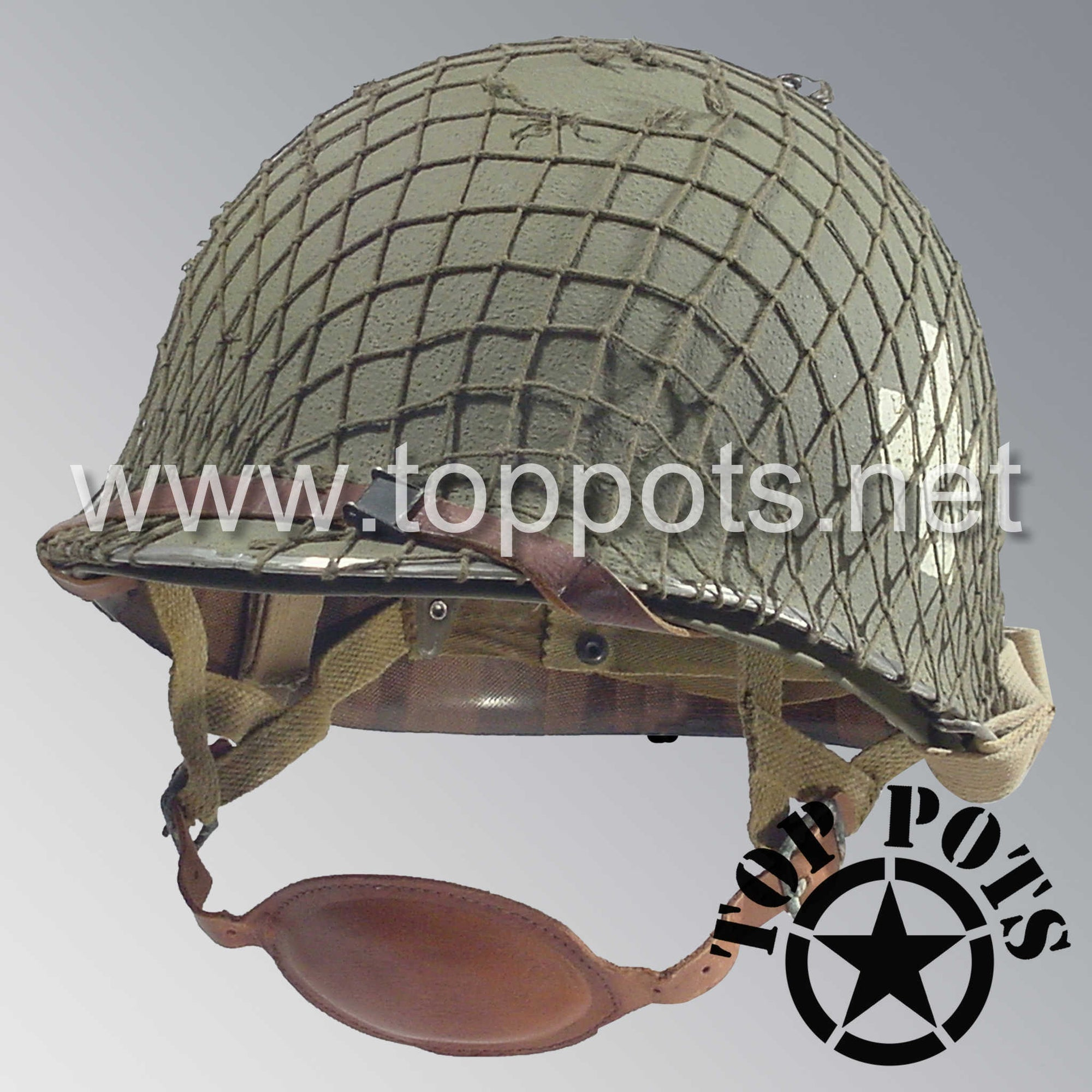 Image 1 of WWII US Army Restored Original M1C Paratrooper Airborne Helmet Swivel Bale Shell and Liner with 101st 326th Airborne Medical Company NCO Emblem and Net